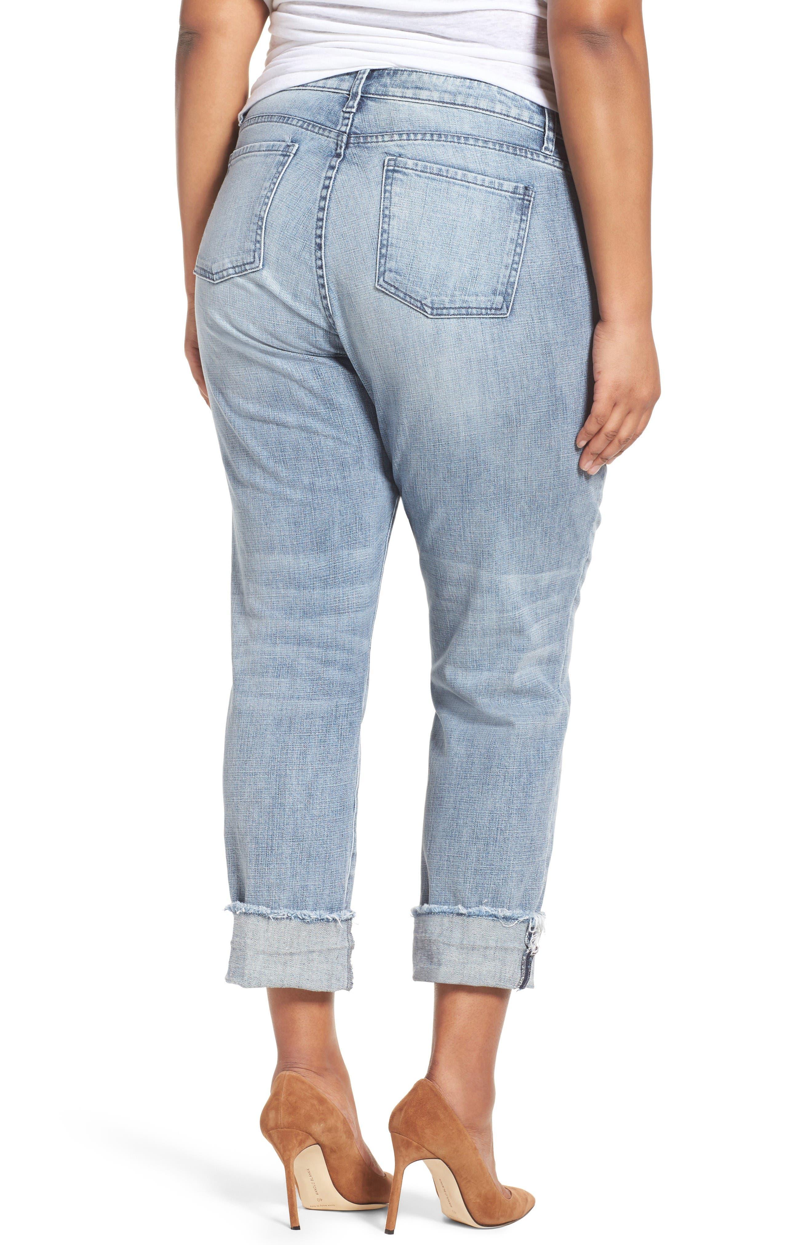 Alternate Image 4  - KUT from the Kloth Catherine Fray Hem Distressed Boyfriend Jeans (Plus Size)