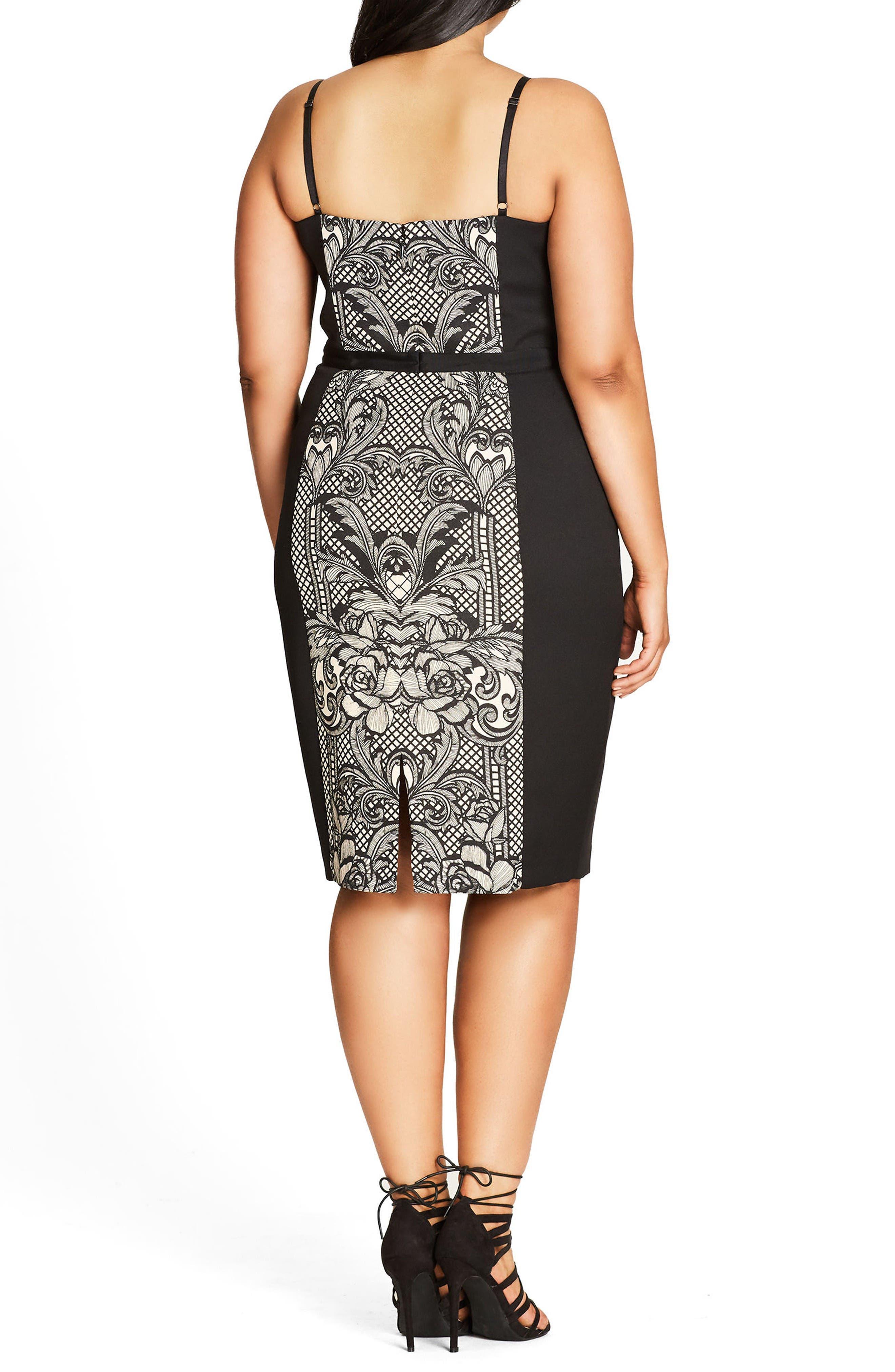 Seductive Strappy Block Print Sheath Dress,                             Alternate thumbnail 2, color,                             Black