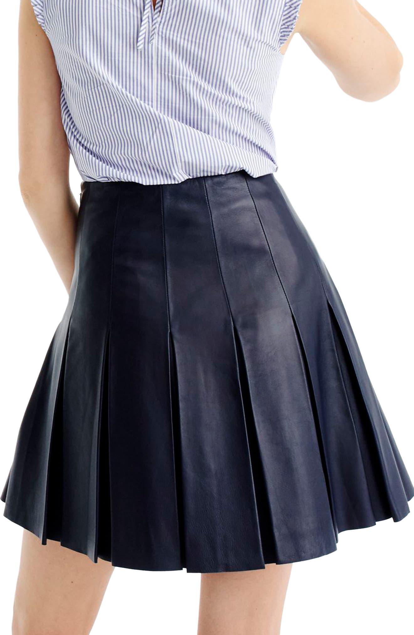 Alternate Image 2  - J.Crew Collection Drop Pleat Leather Skirt