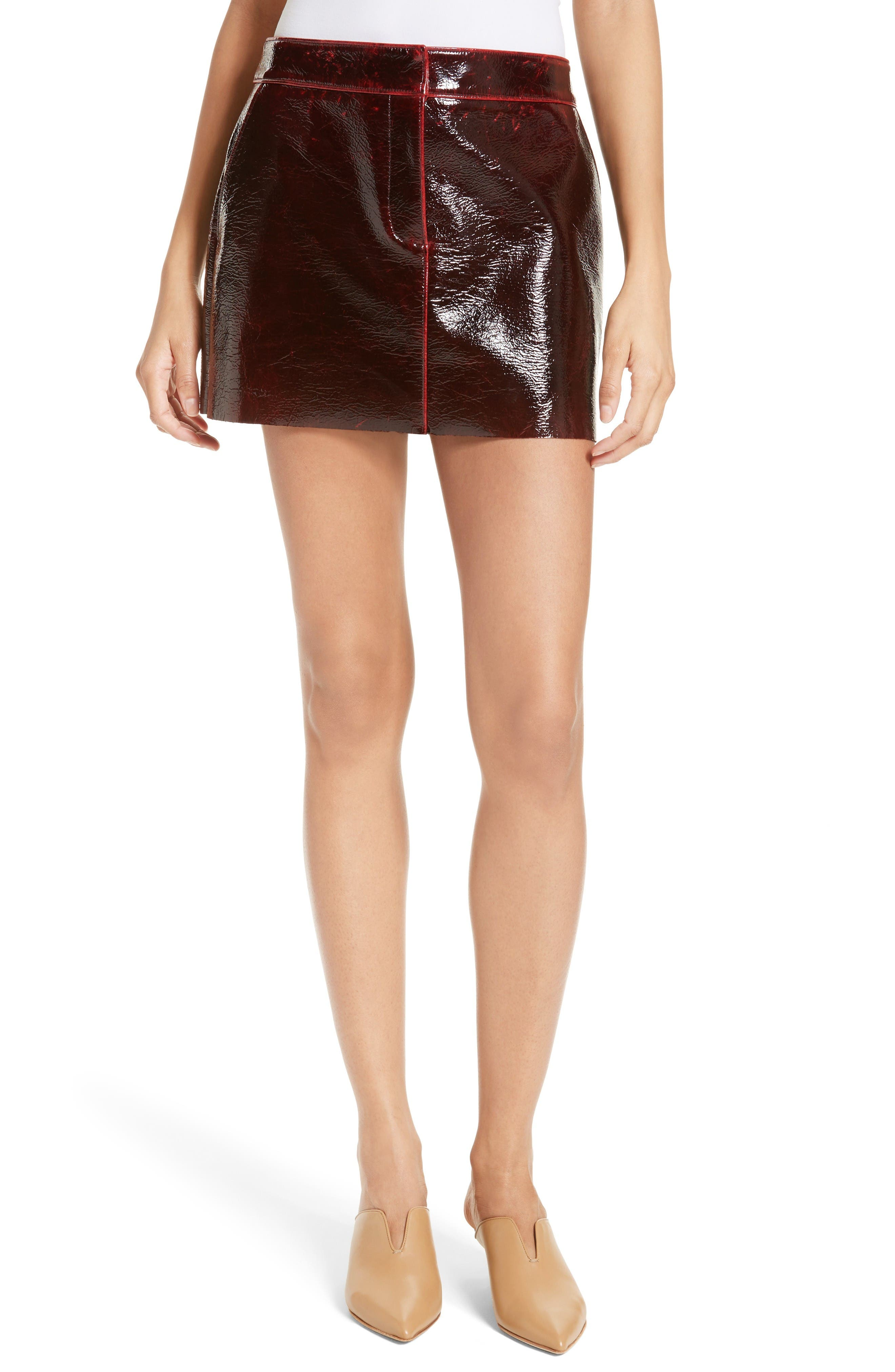 Patent Coated Wool Blend Miniskirt,                         Main,                         color, Rouge