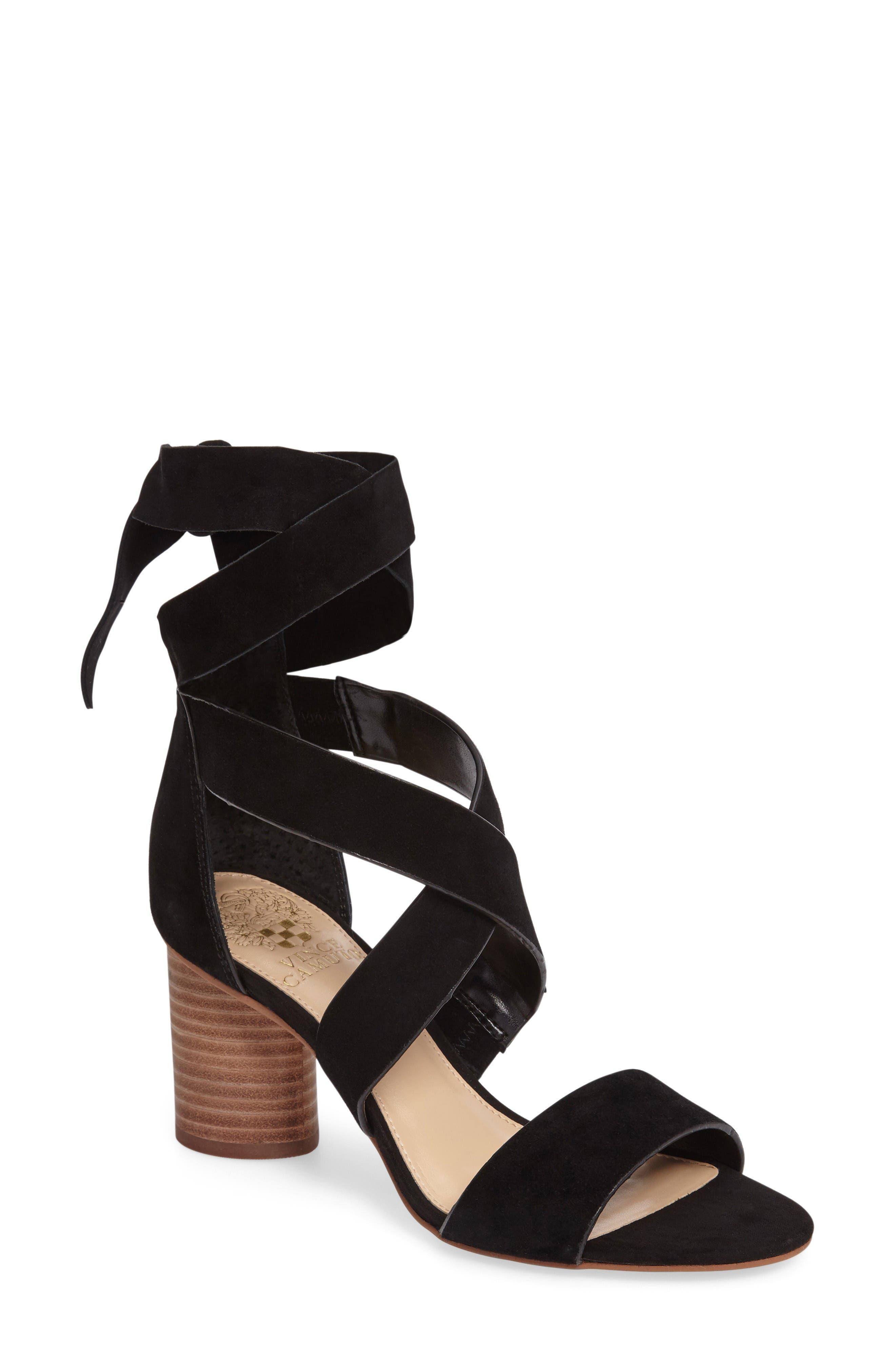 Jeneve Block Heel Sandal,                         Main,                         color, Black Suede