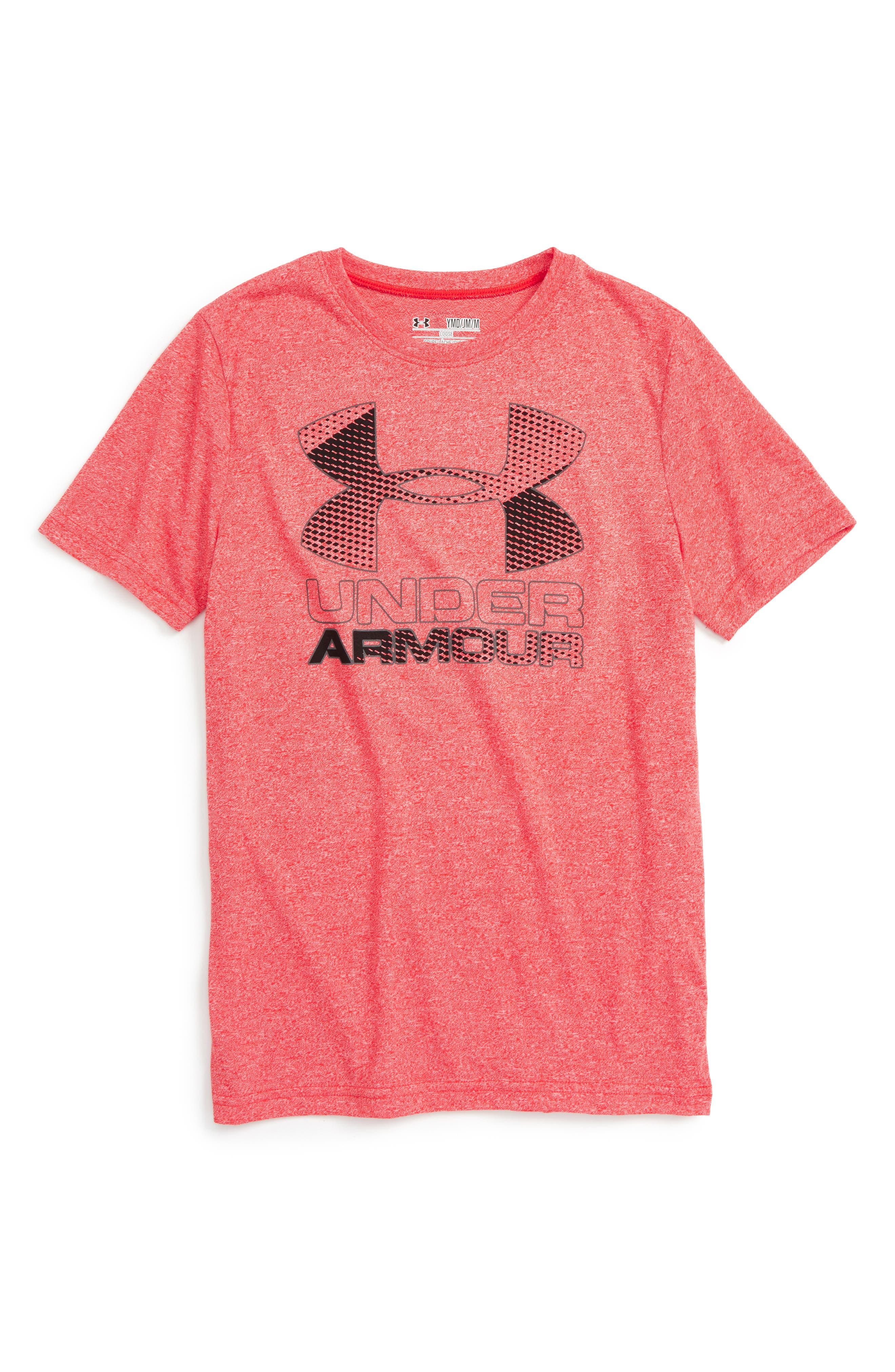 Main Image - Under Armour Big Logo Hybrid 2.0 HeatGear® T-Shirt (Little Boys & Big Boys)