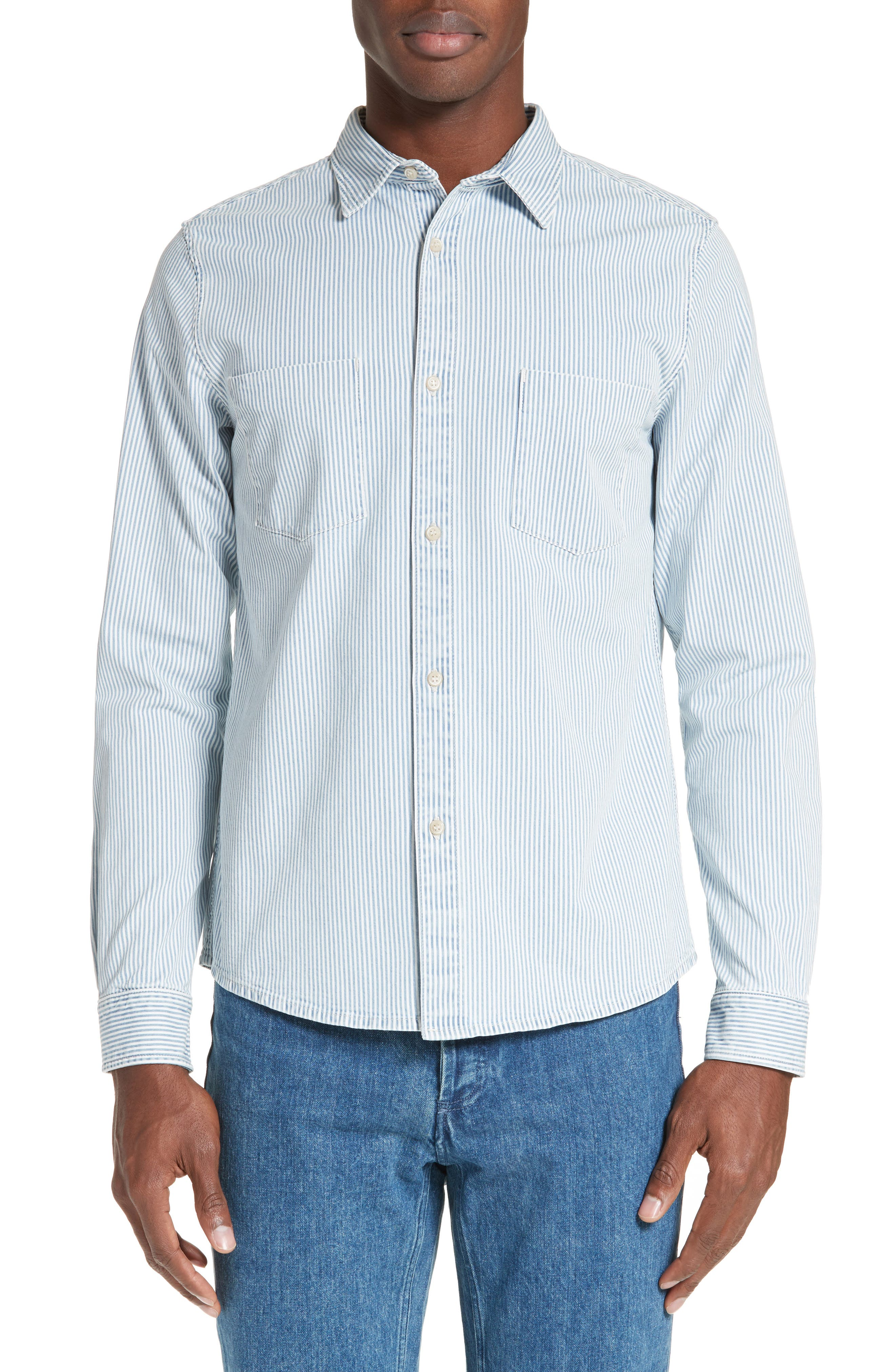 Riga Microstripe Denim Sport Shirt,                         Main,                         color, Indigo