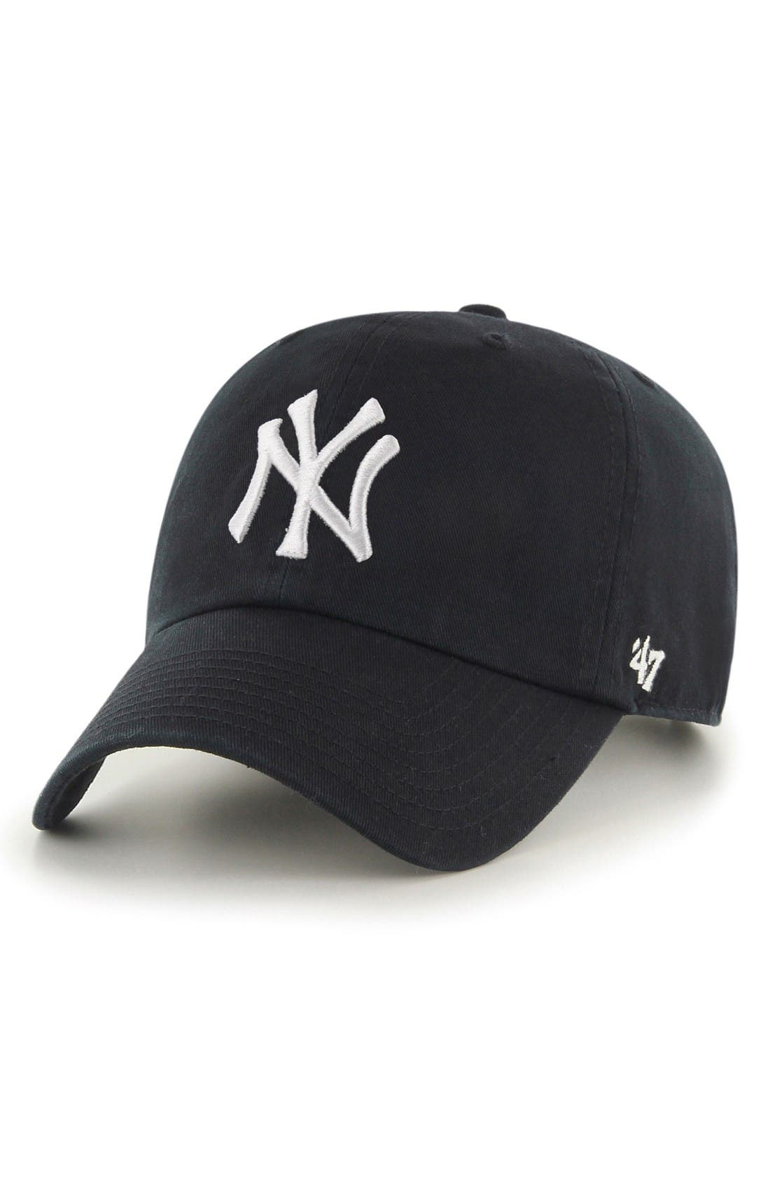 Clean Up NY Yankees Baseball Cap,                             Main thumbnail 1, color,                             Black