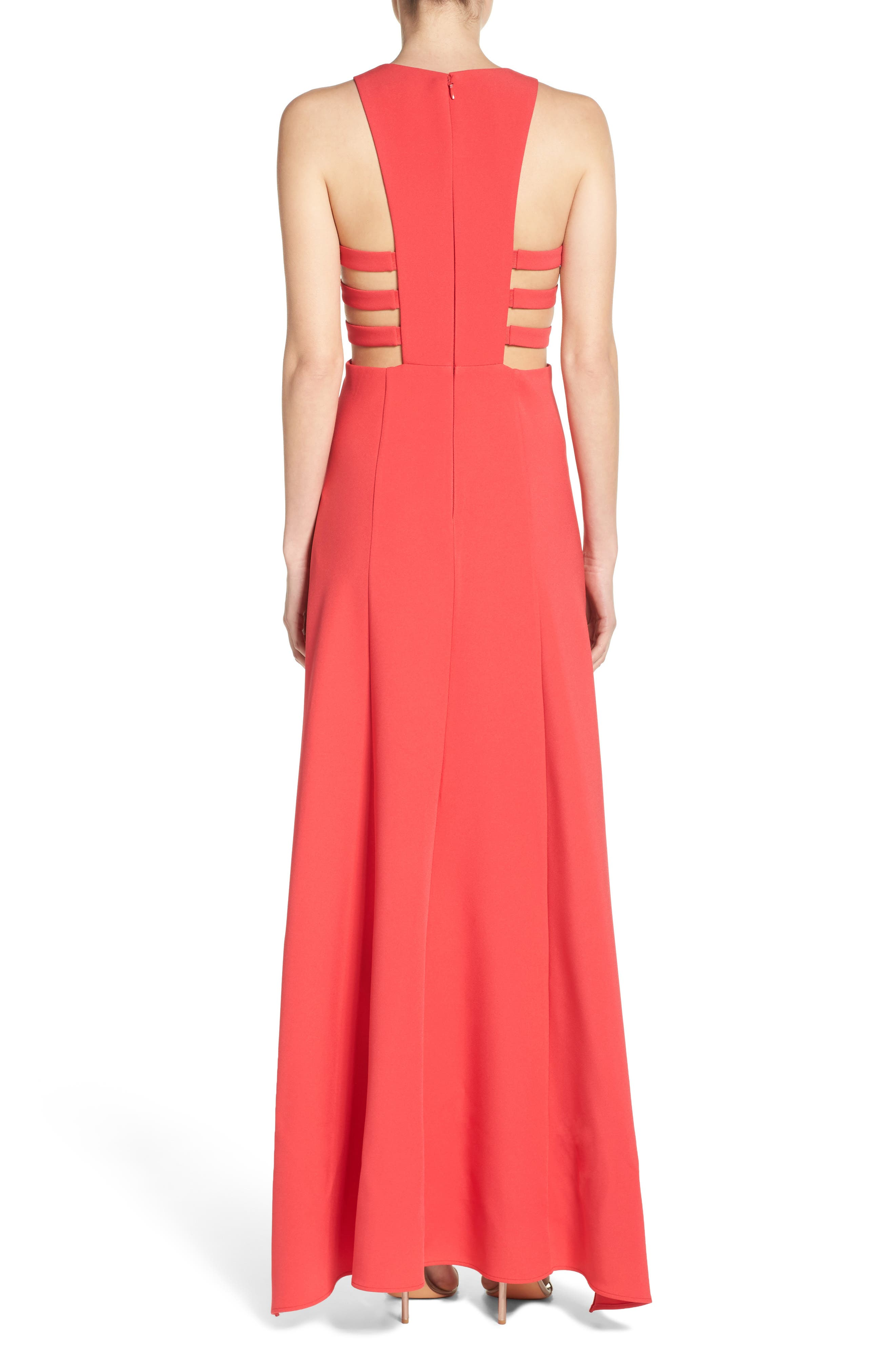 Alternate Image 2  - BCBGMAXAZRIA 'Rosalyn' Cutout High/Low Crepe Gown