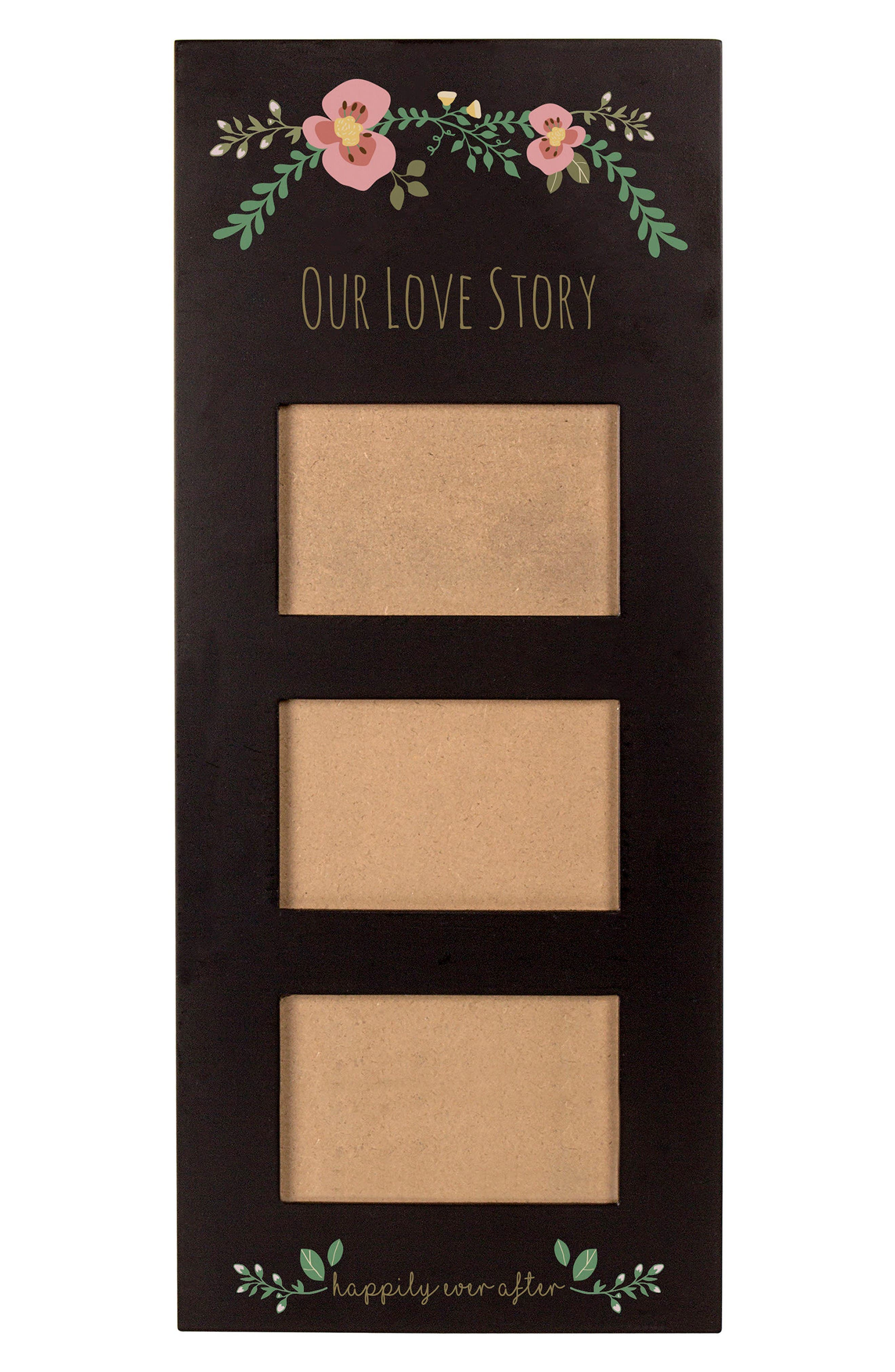 Floral Love Story 3-Window Picture Frame,                             Alternate thumbnail 4, color,                             Black
