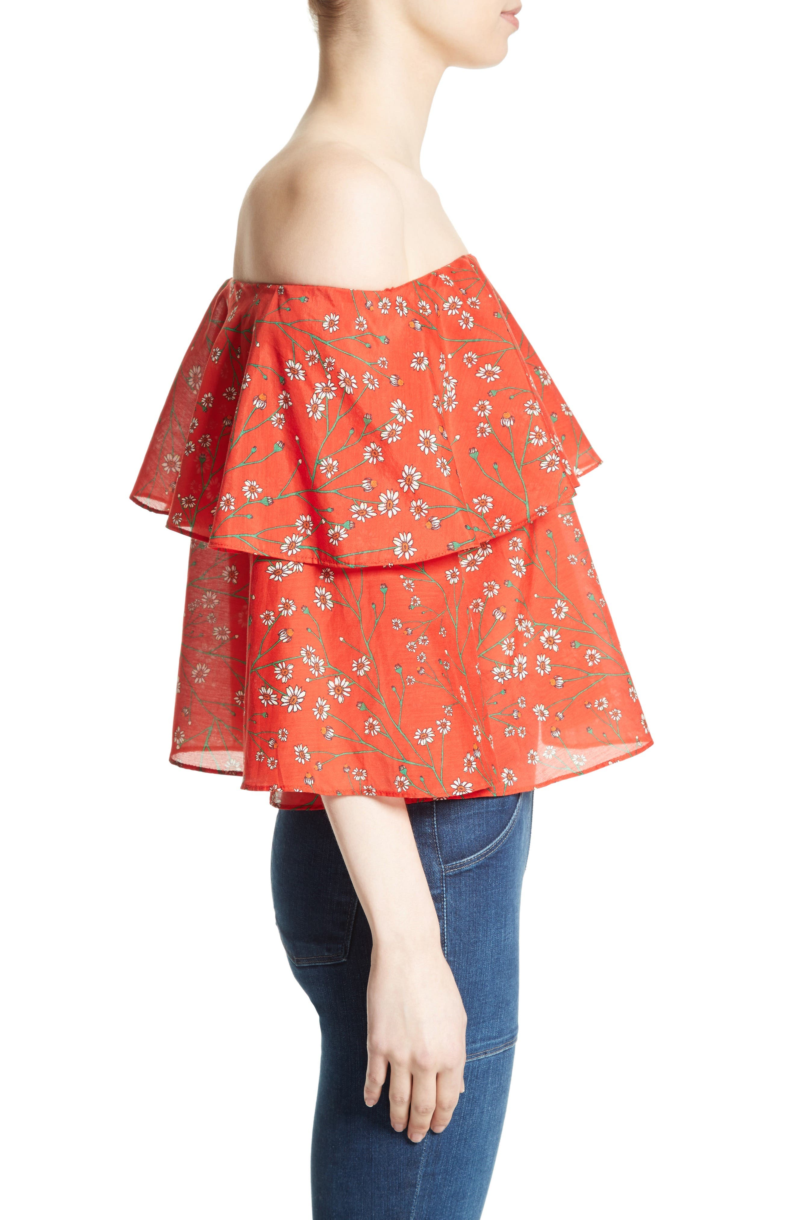 Meagan Double Layer Off the Shoulder Top,                             Alternate thumbnail 3, color,                             Dainty Daisy