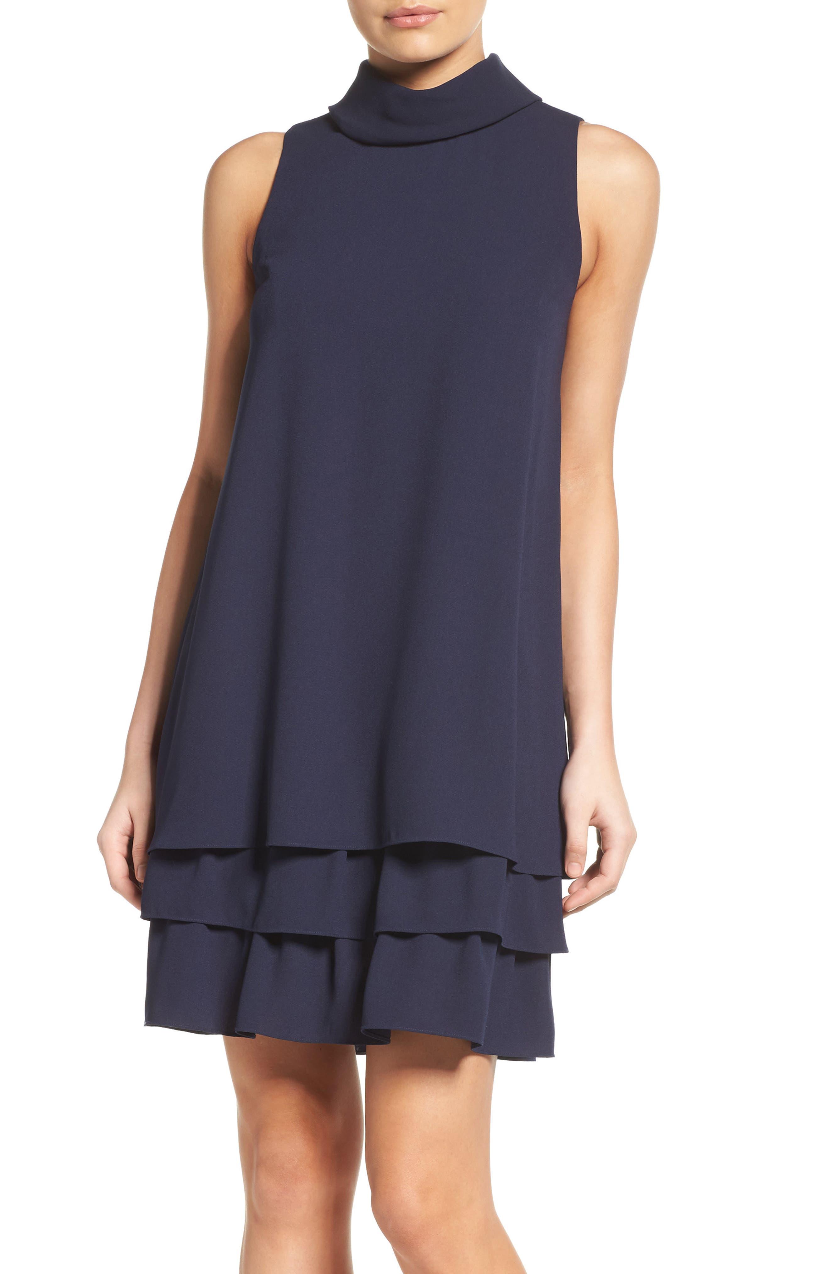 Roll Neck Ruffle Dress,                         Main,                         color, Navy