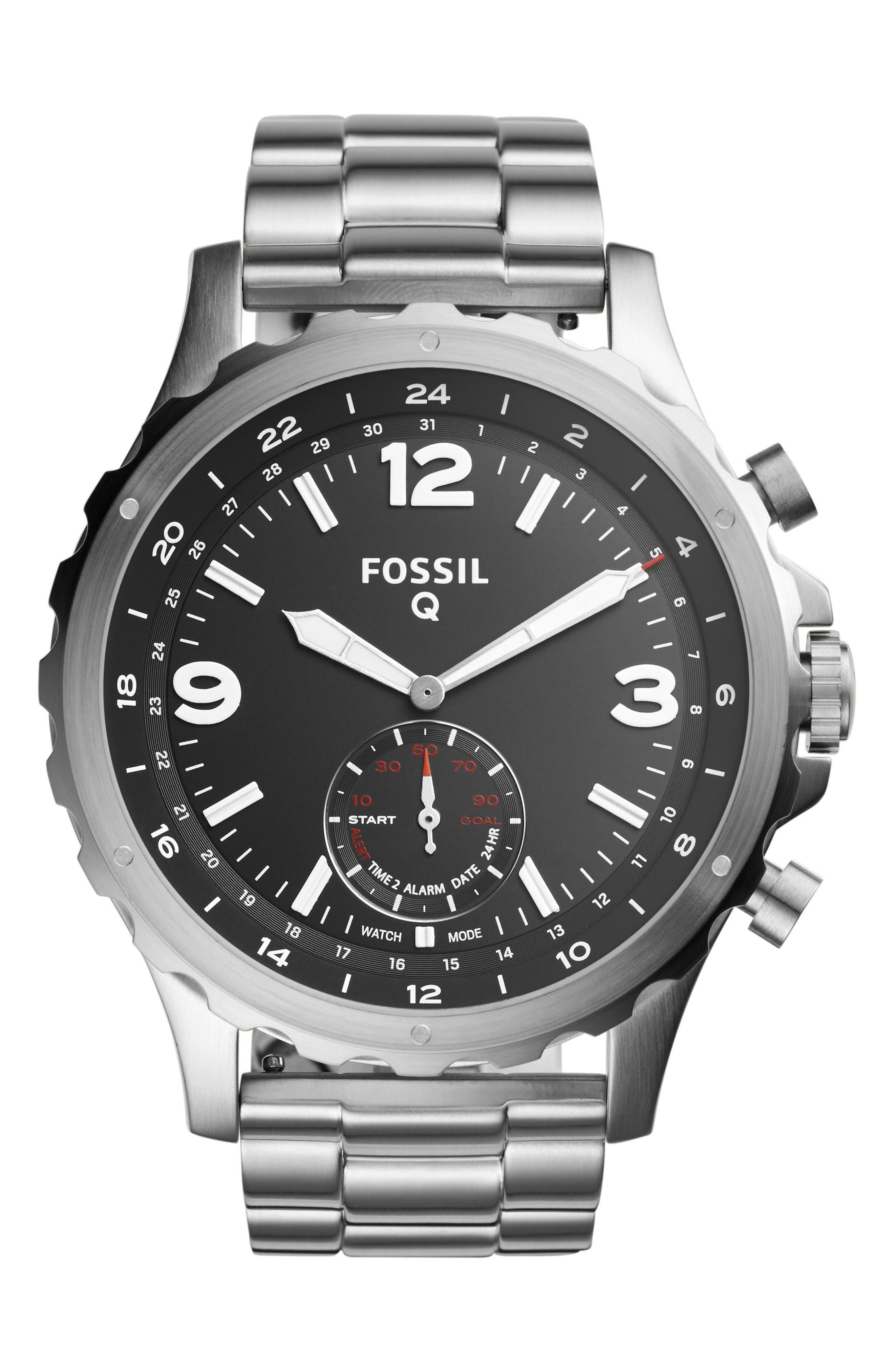 Alternate Image 1 Selected - Fossil Q Nate Bracelet Hybrid Smart Watch, 50mm