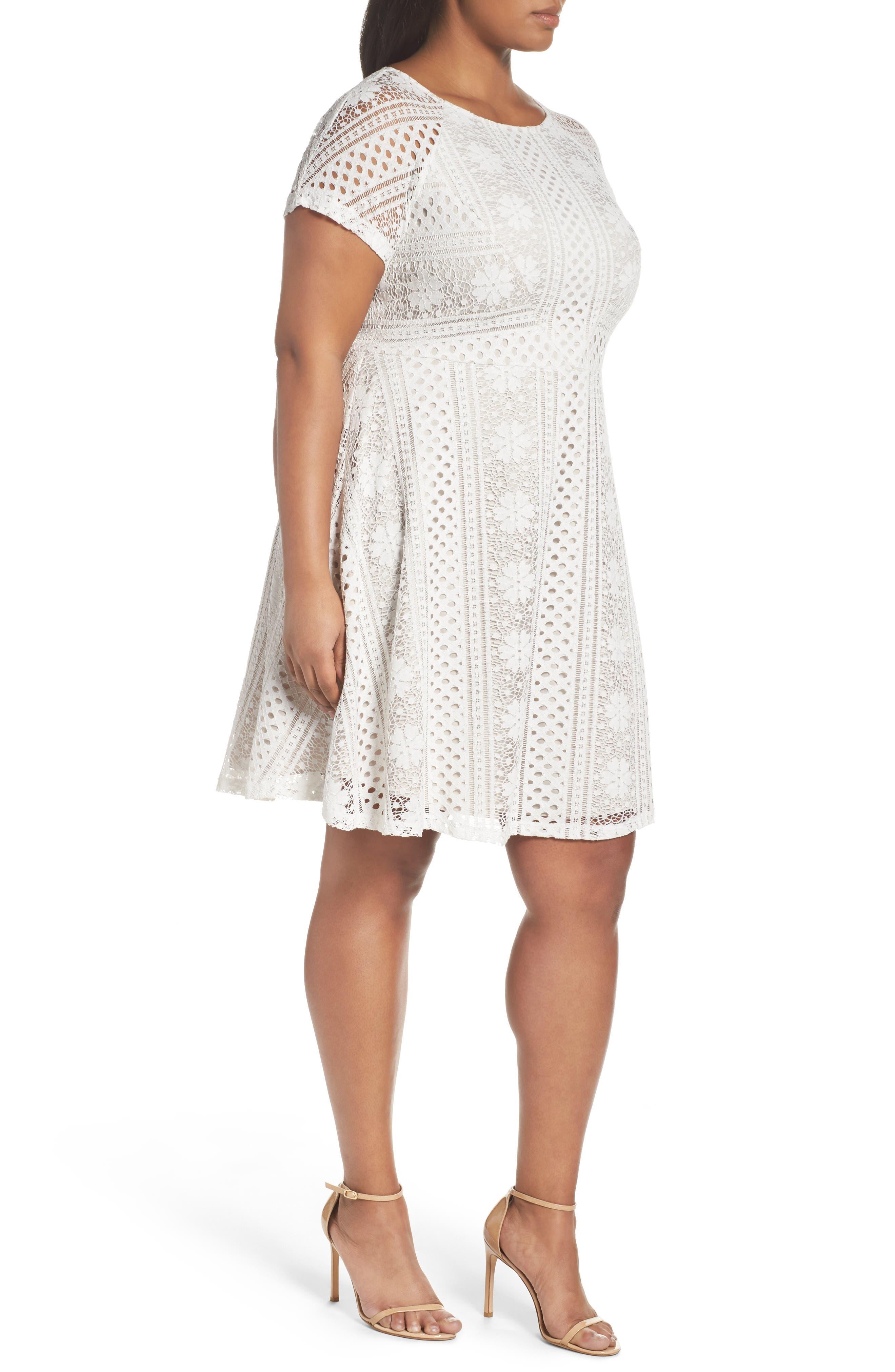 A-Line Lace Dress,                             Alternate thumbnail 3, color,                             Ivory/Chamois