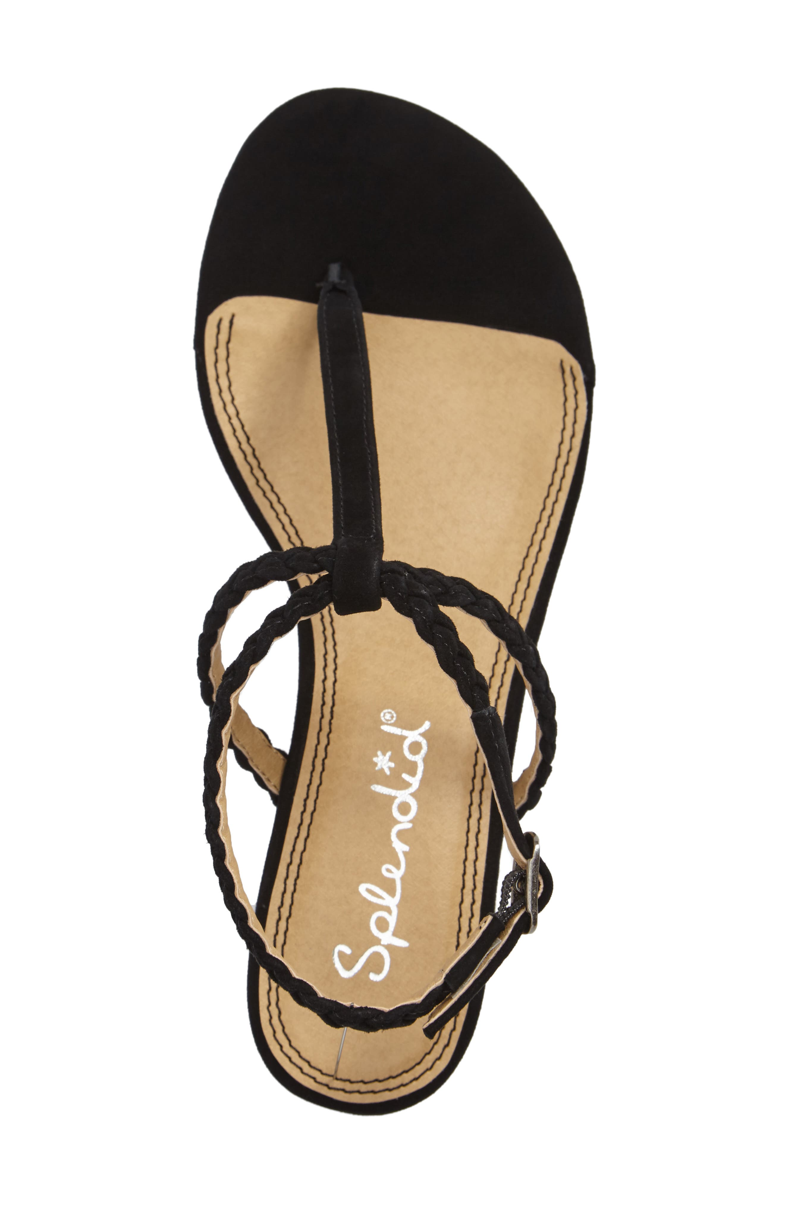 Jadia T-Strap Sandal,                             Alternate thumbnail 3, color,                             Black Suede