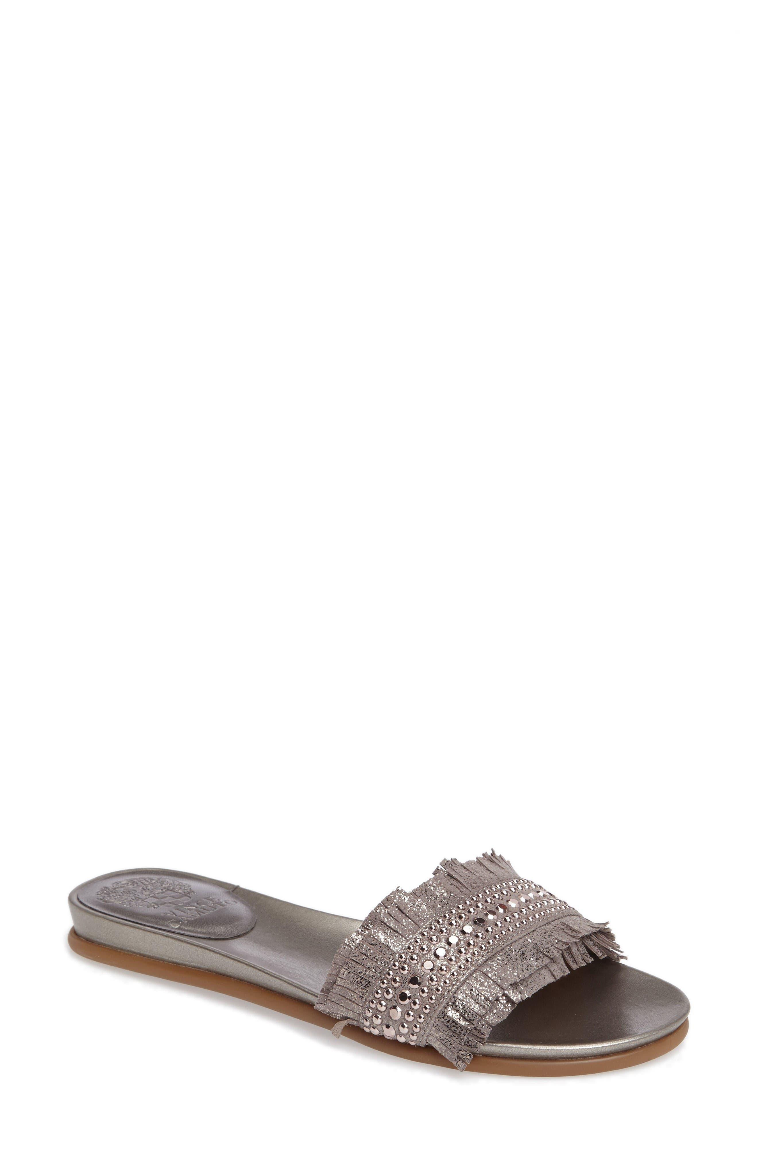 Ettina Fringed Slide Sandal,                         Main,                         color, Metal Grey Suede