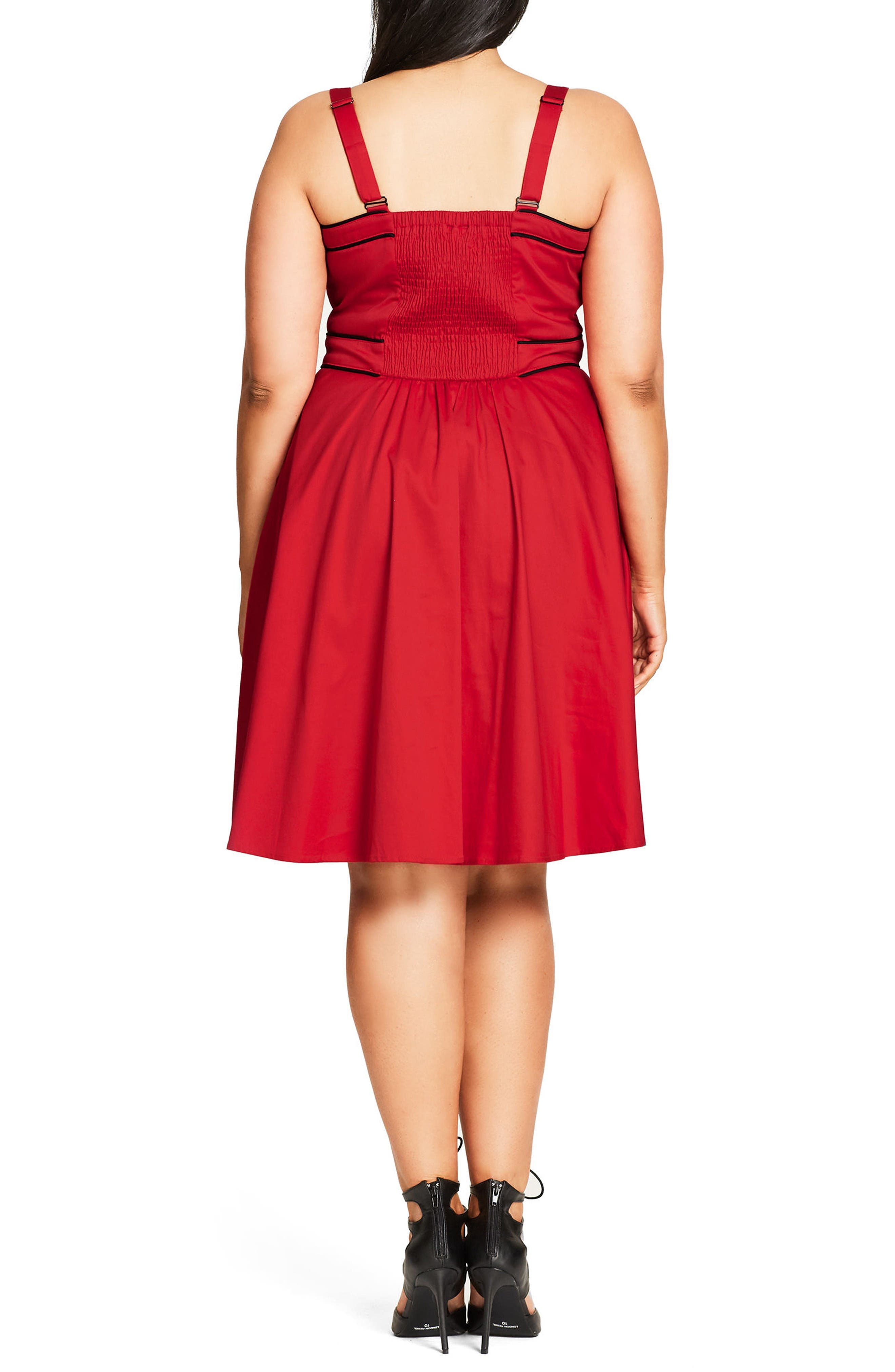 Alternate Image 2  - City Chic Darling Contrast Piped Fit & Flare Sundress