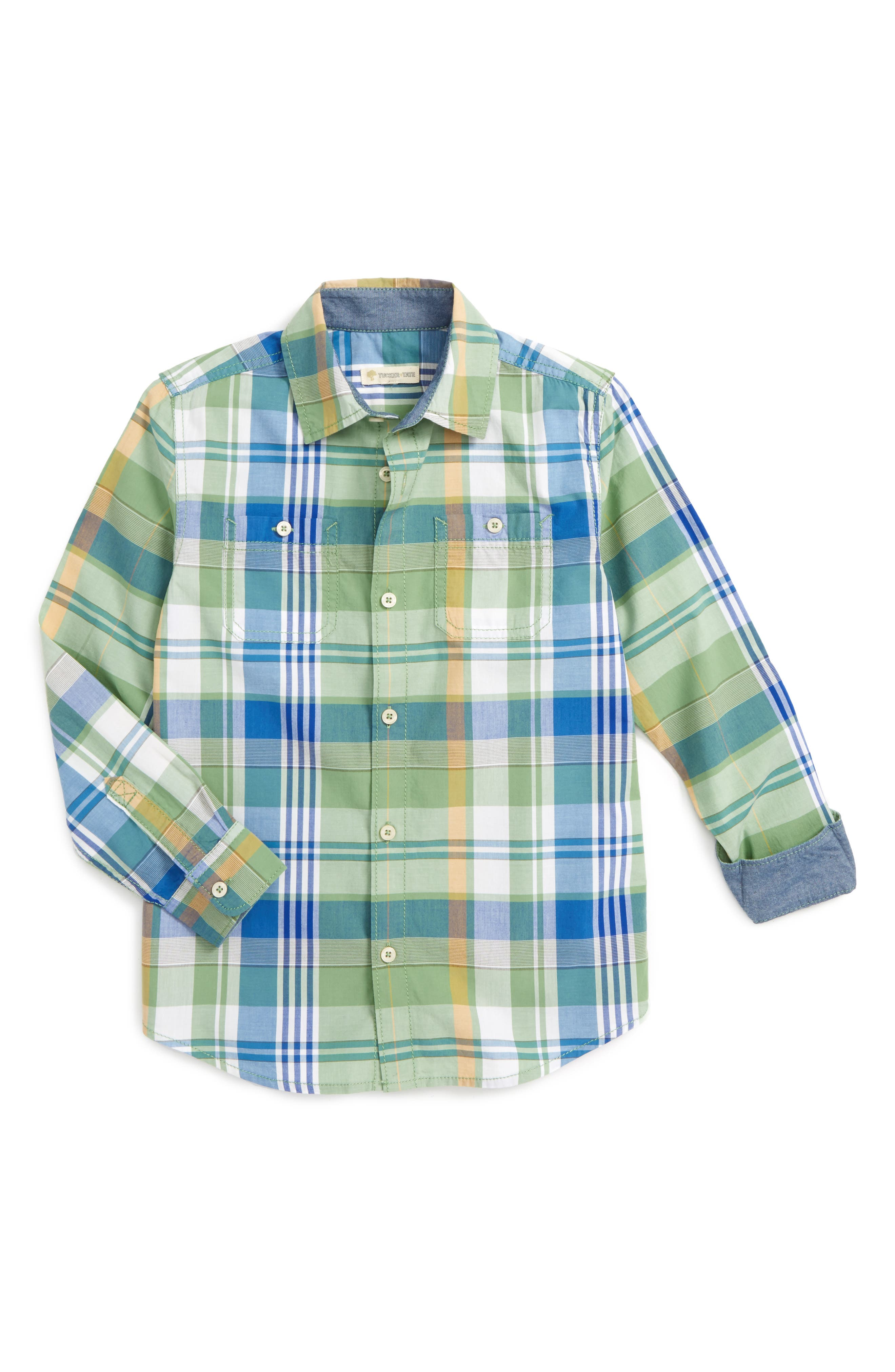 Alternate Image 1 Selected - Tucker + Tate 'Photo' Buffalo Plaid Woven Shirt (Little Boys)
