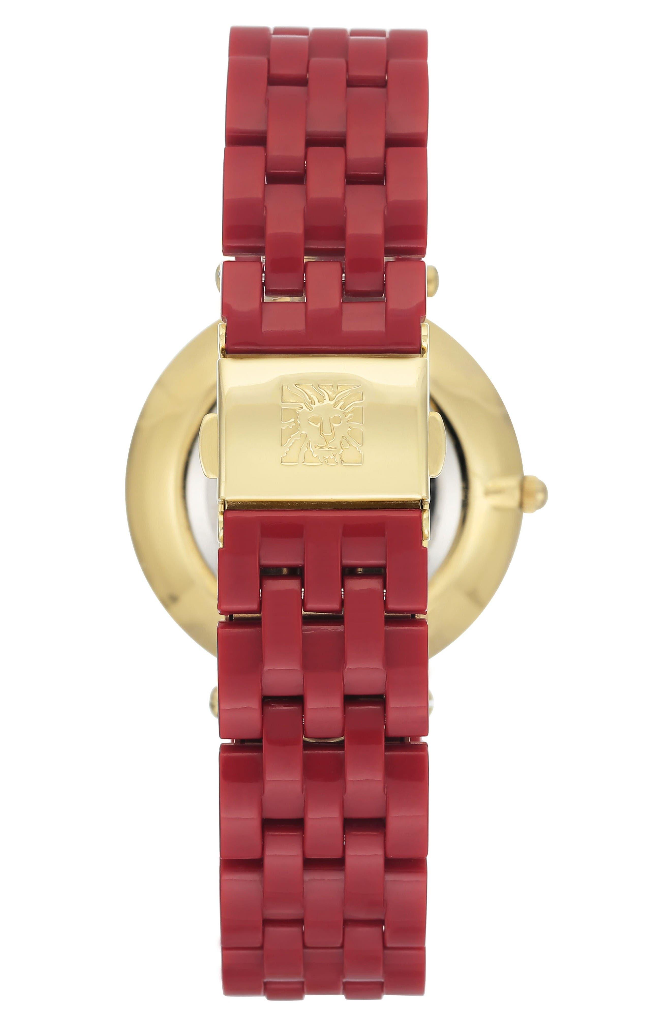 Bracelet Watch, 34mm,                             Alternate thumbnail 2, color,                             Red/ White/ Gold