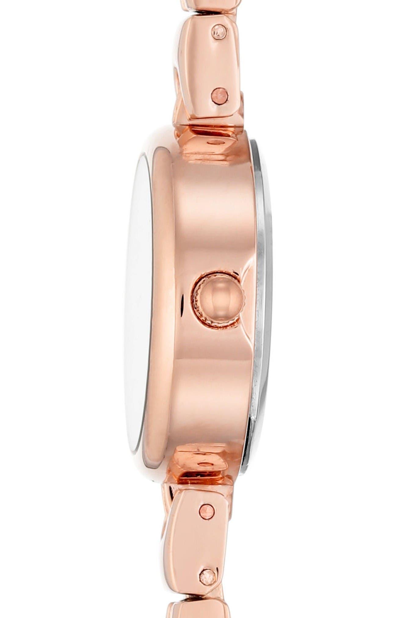 Bracelet Watch Set, 22mm,                             Alternate thumbnail 3, color,                             Rosegold