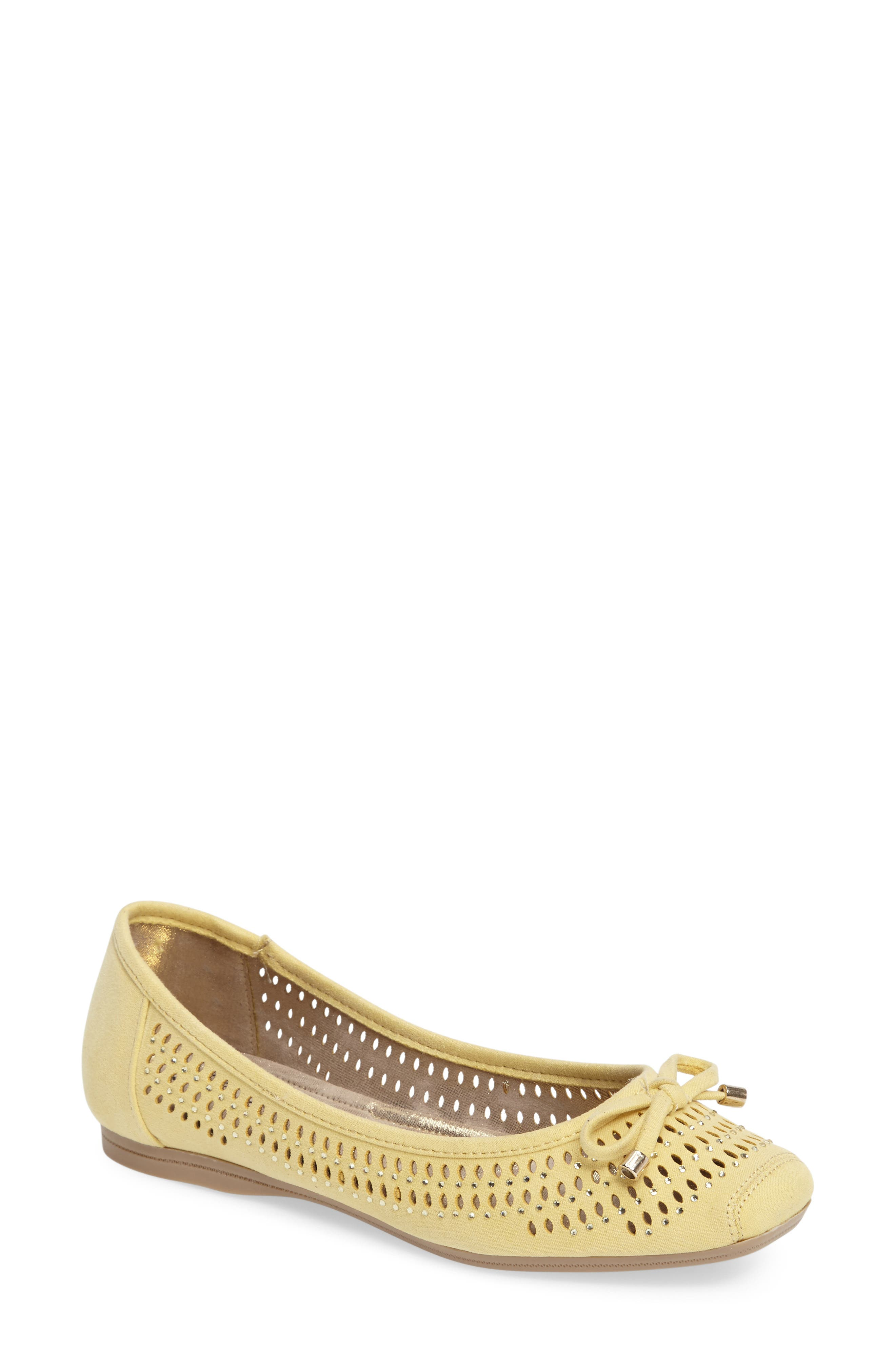 Valeria Bow Flat,                         Main,                         color, Butter Faux Suede