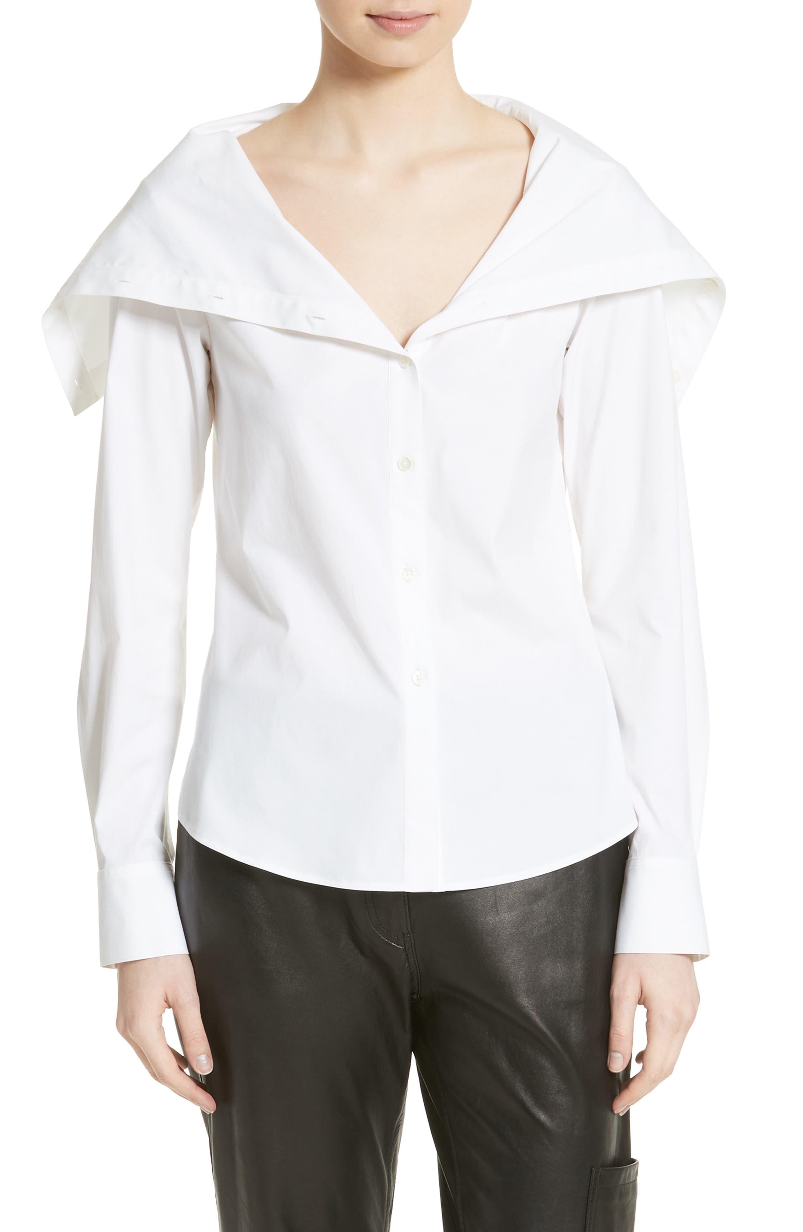 Doherty Stretch Cotton Sailor Shirt,                         Main,                         color, White