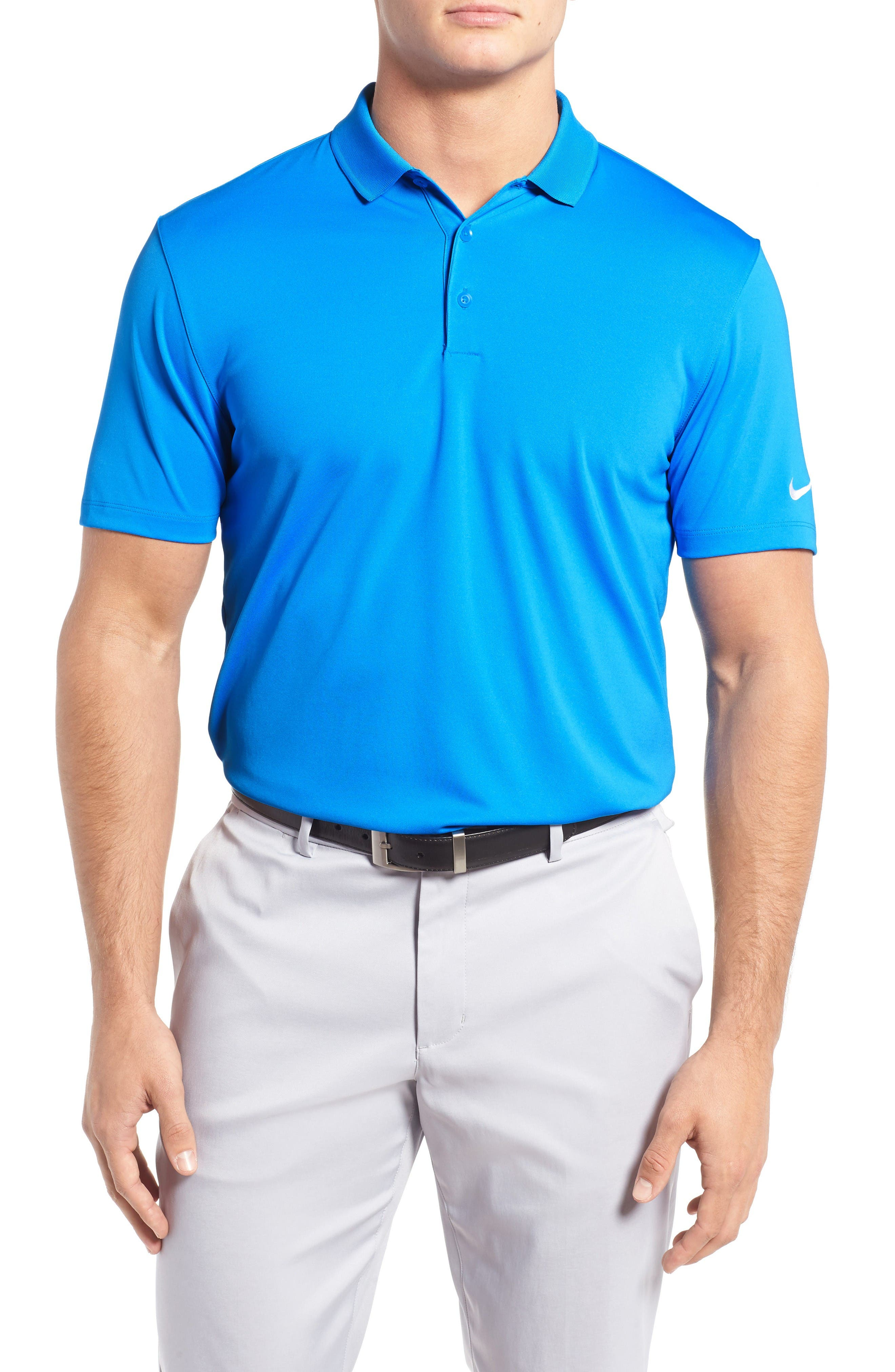 'Victory Dri-FIT Golf Polo,                             Main thumbnail 1, color,                             Photo Blue/ White