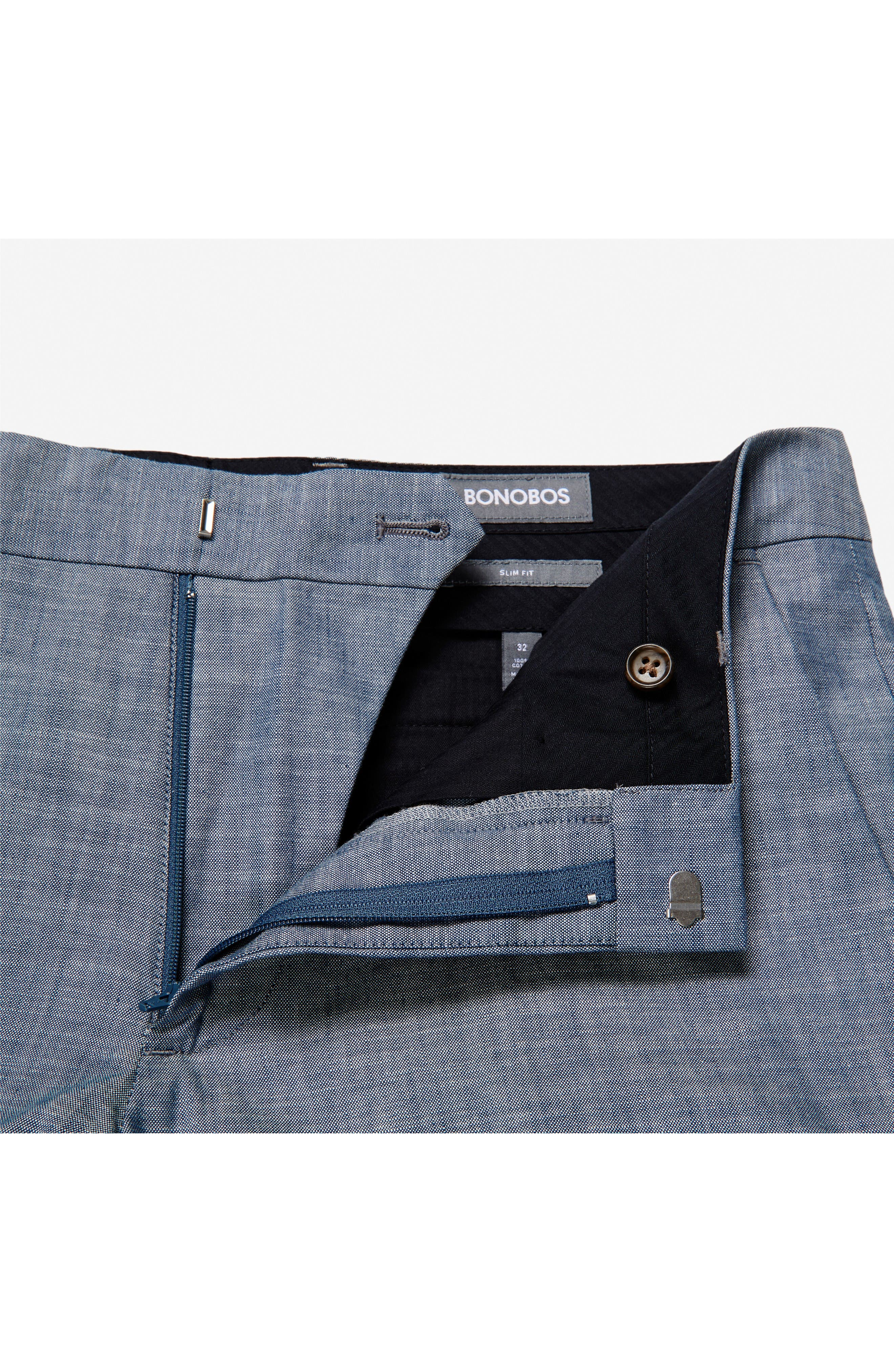 Flat Front Solid Cotton Trousers,                             Alternate thumbnail 3, color,                             Solid Blue