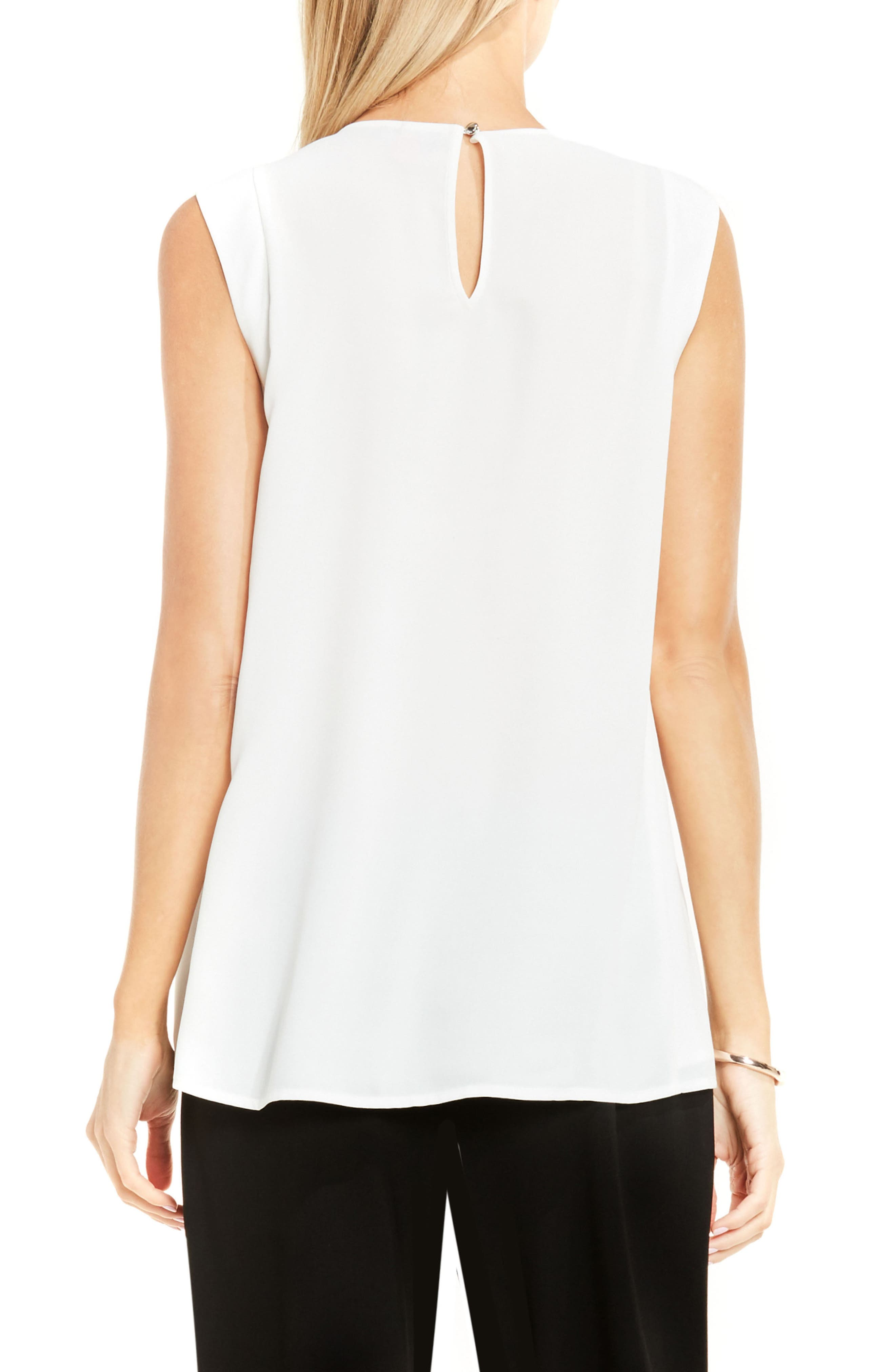 Alternate Image 2  - Vince Camuto Pleat Neck Blouse (Regular & Petite)