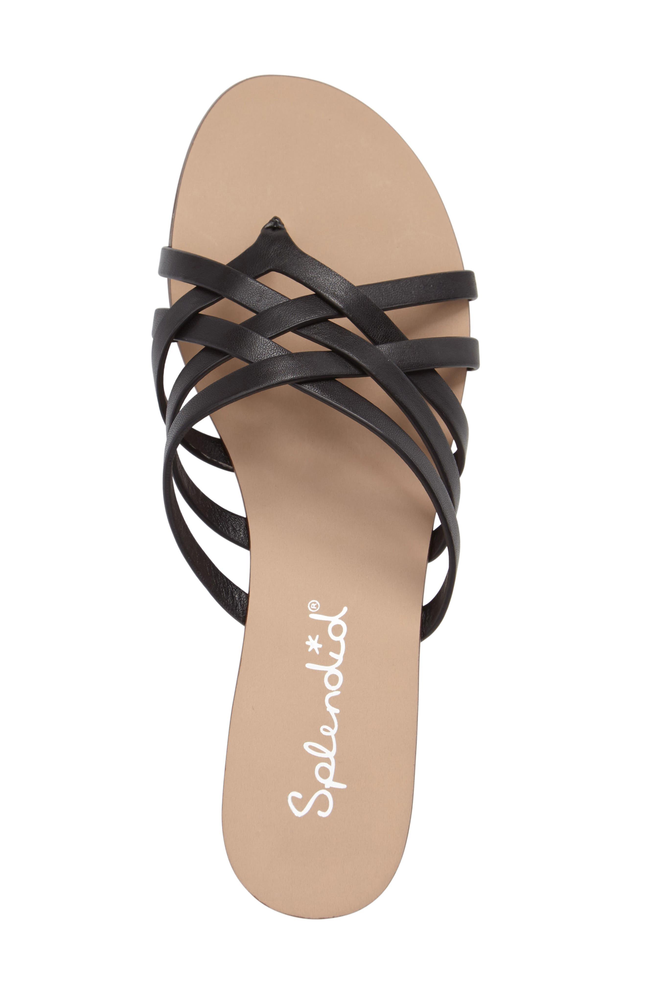 Jojo Slide Sandal,                             Alternate thumbnail 3, color,                             Black Leather