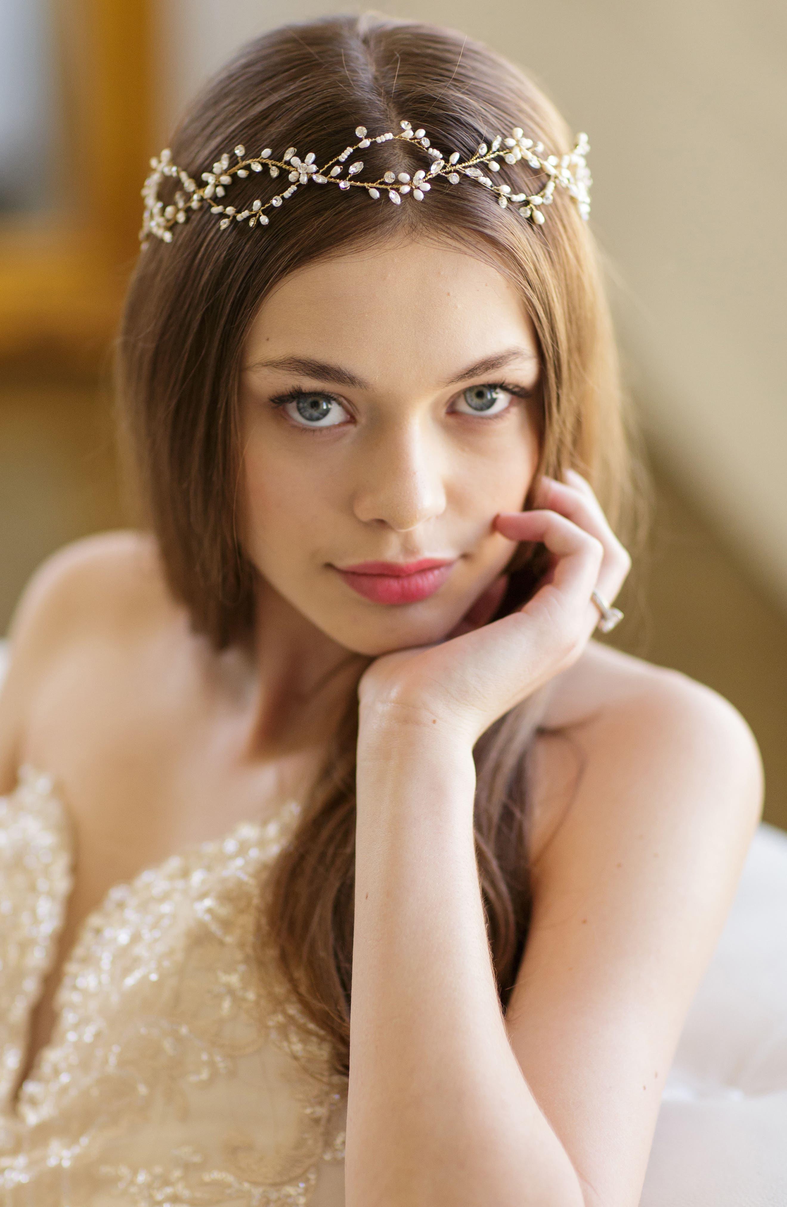 Alternate Image 2  - Brides & Hairpins Octavia Pearl & Jeweled Halo & Sash