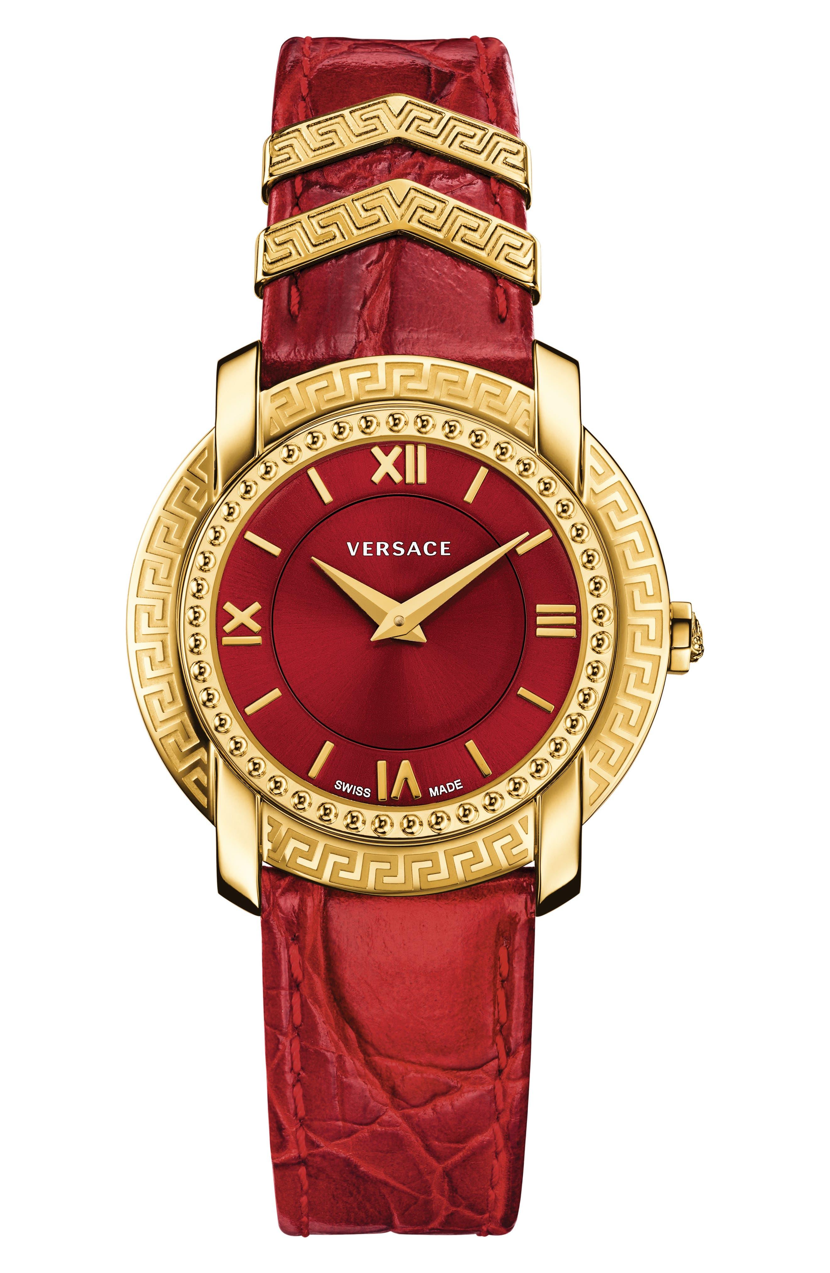 Versace DV-25 Leather Strap Watch, 36mm