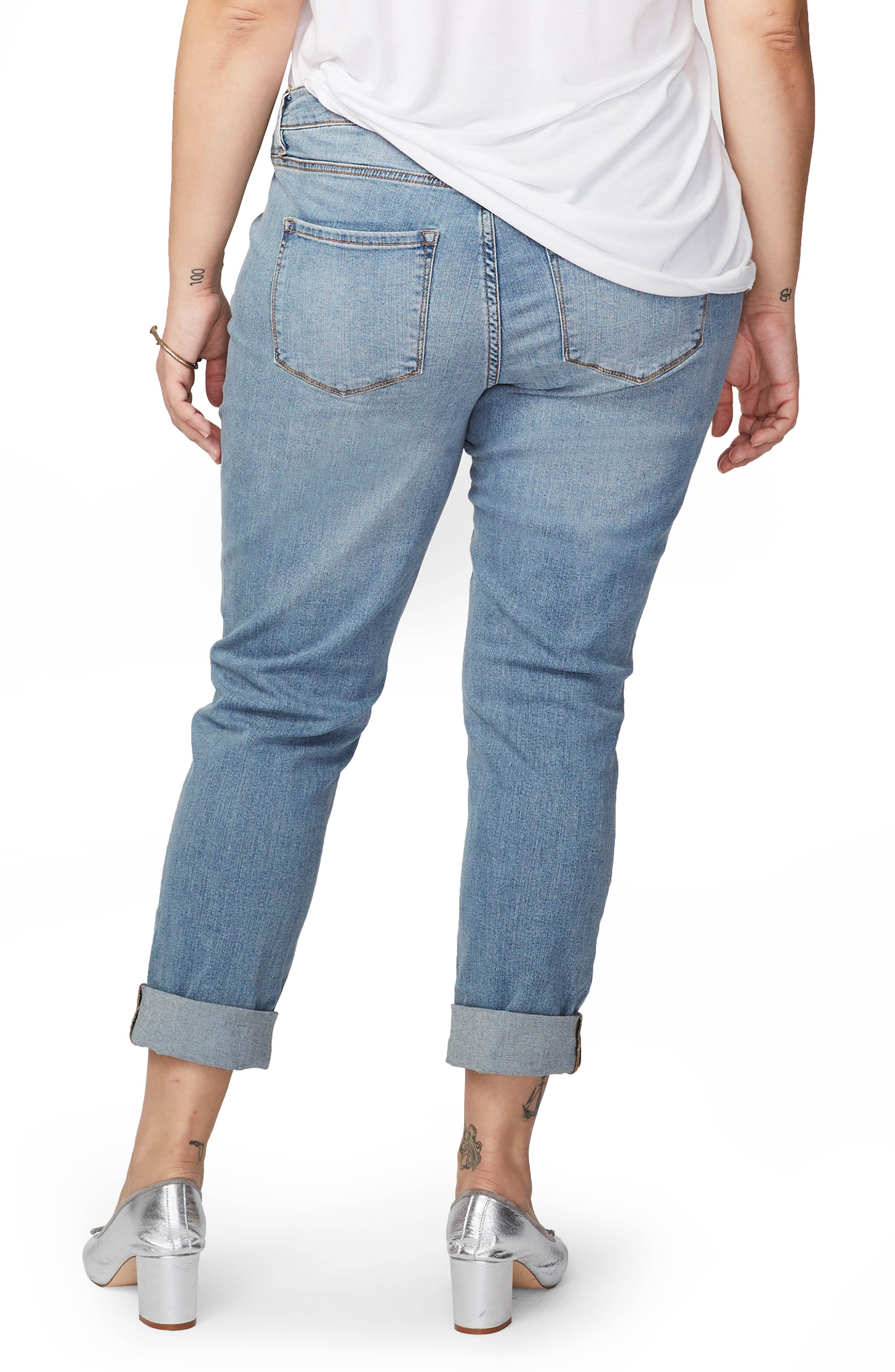 Ripped Girlfriend Jeans,                             Alternate thumbnail 2, color,                             Light Wash