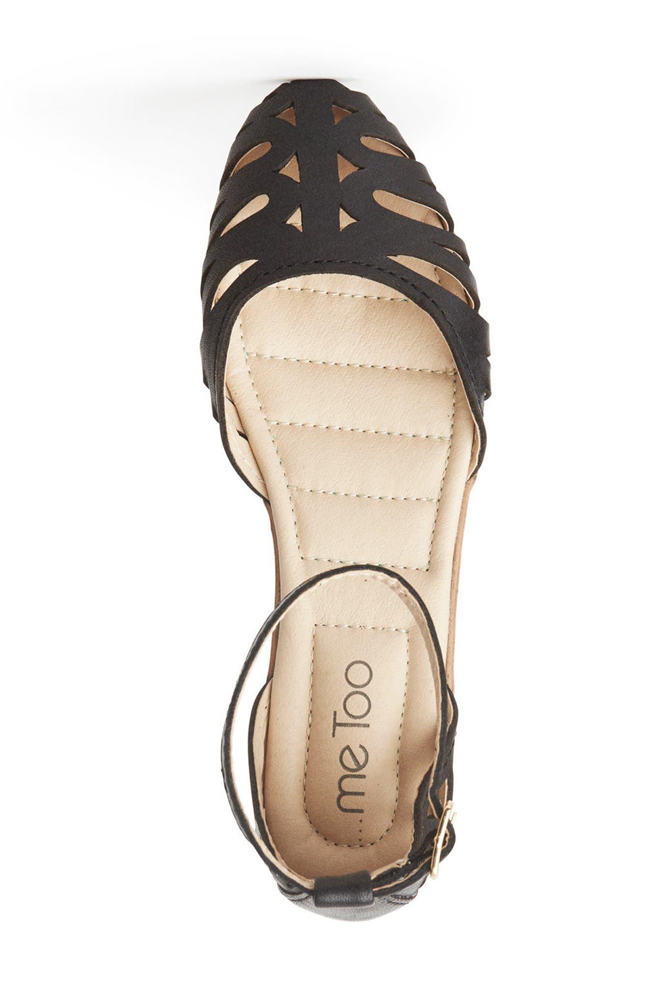 Nalani Ankle Strap Sandal,                             Alternate thumbnail 3, color,                             Black Leather
