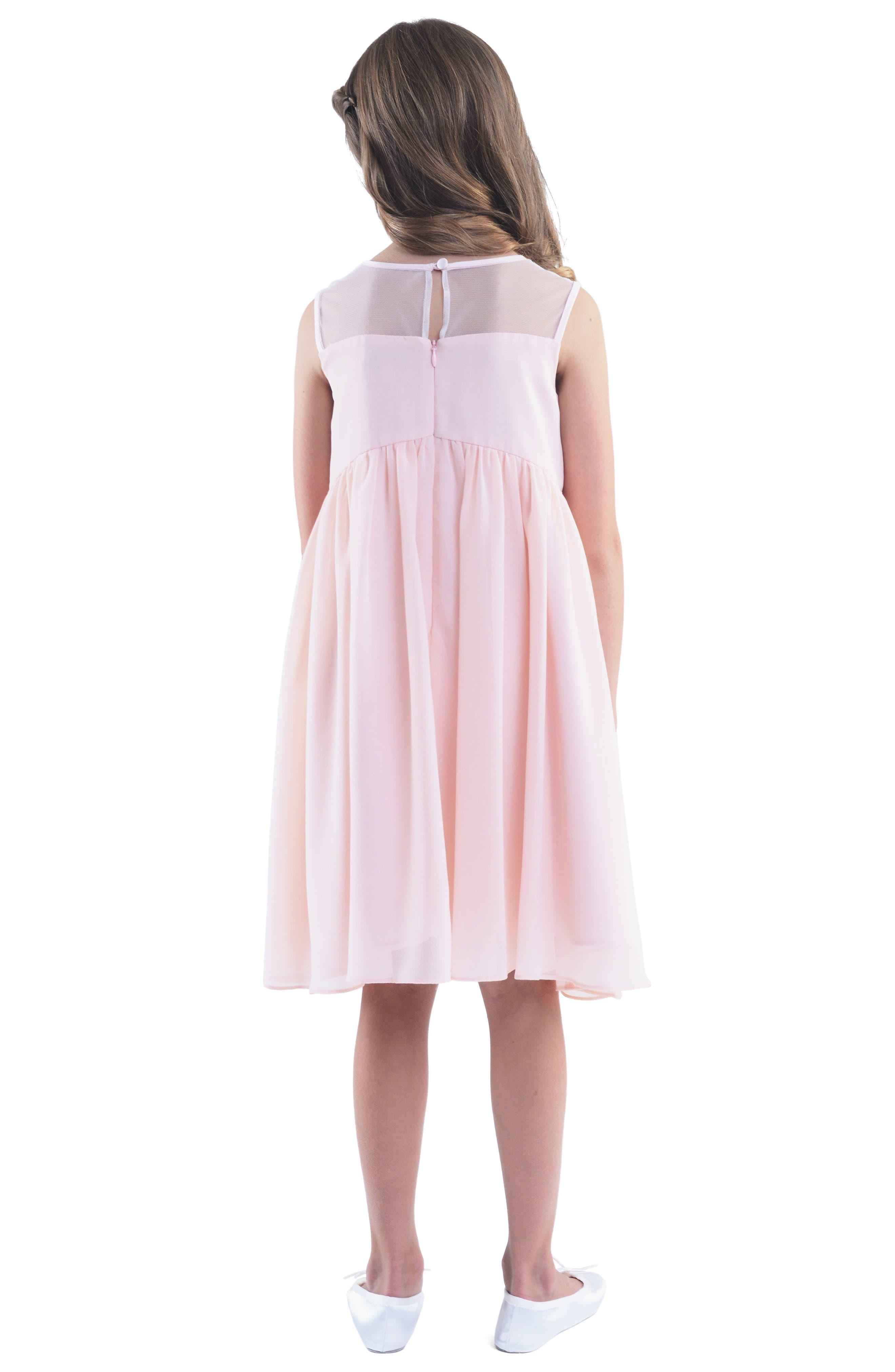 Illusion Neckline Dress,                             Alternate thumbnail 2, color,                             Blush Pink