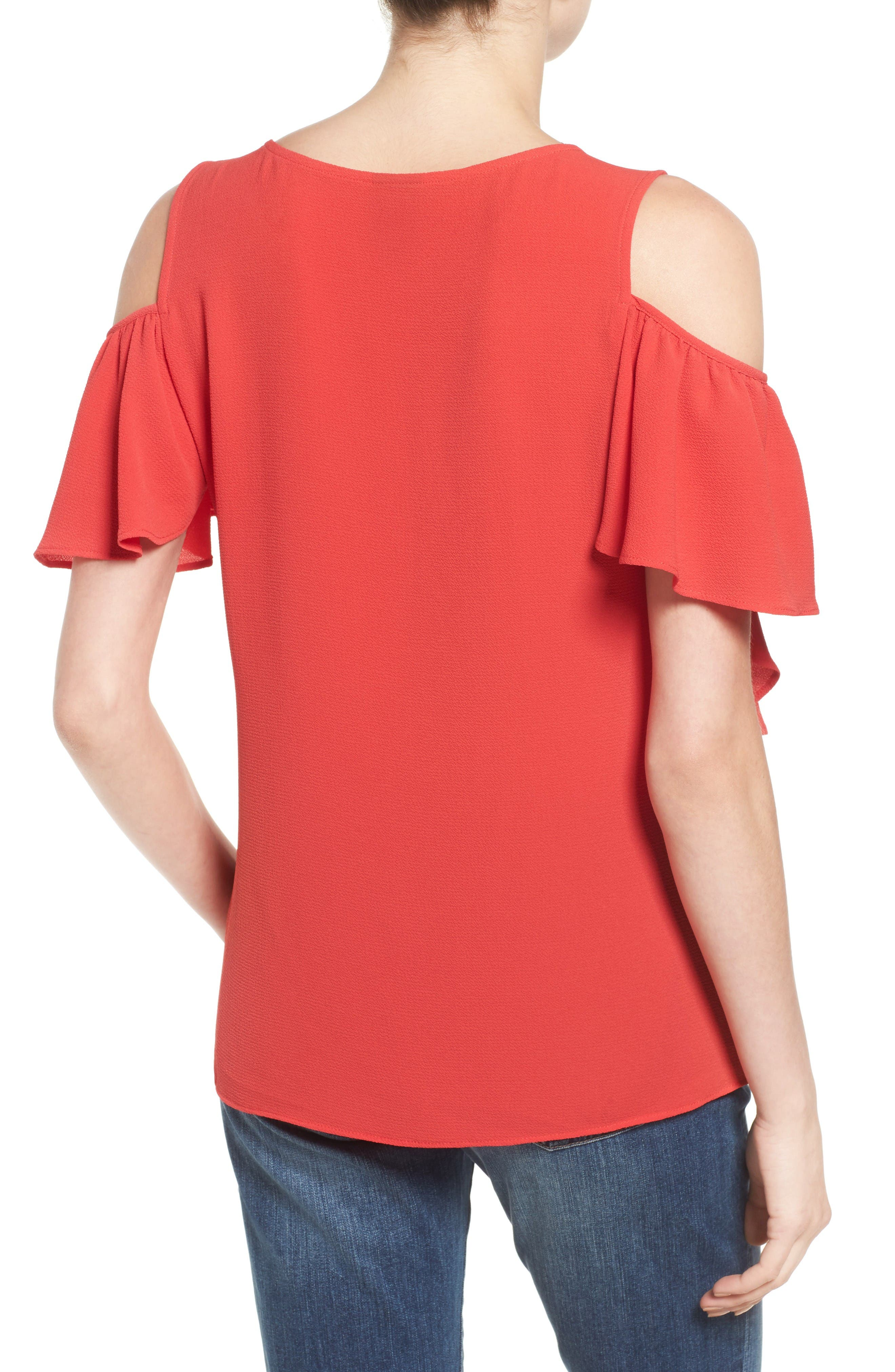 Cold Shoulder Ruffle Sleeve Top,                             Alternate thumbnail 2, color,                             Red Saucy