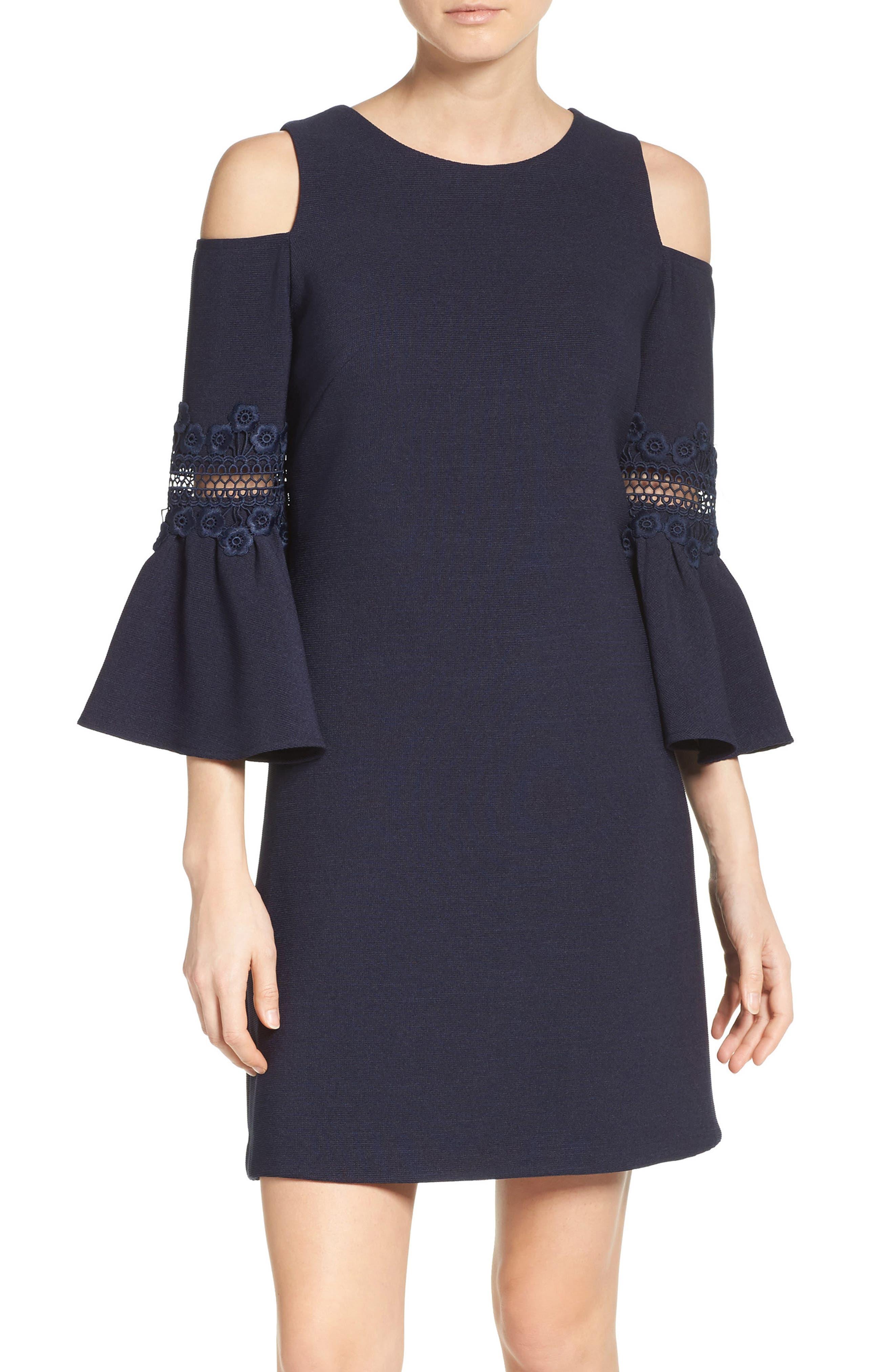 LACE APPLIQUE CREPE COLD SHOULDER DRESS