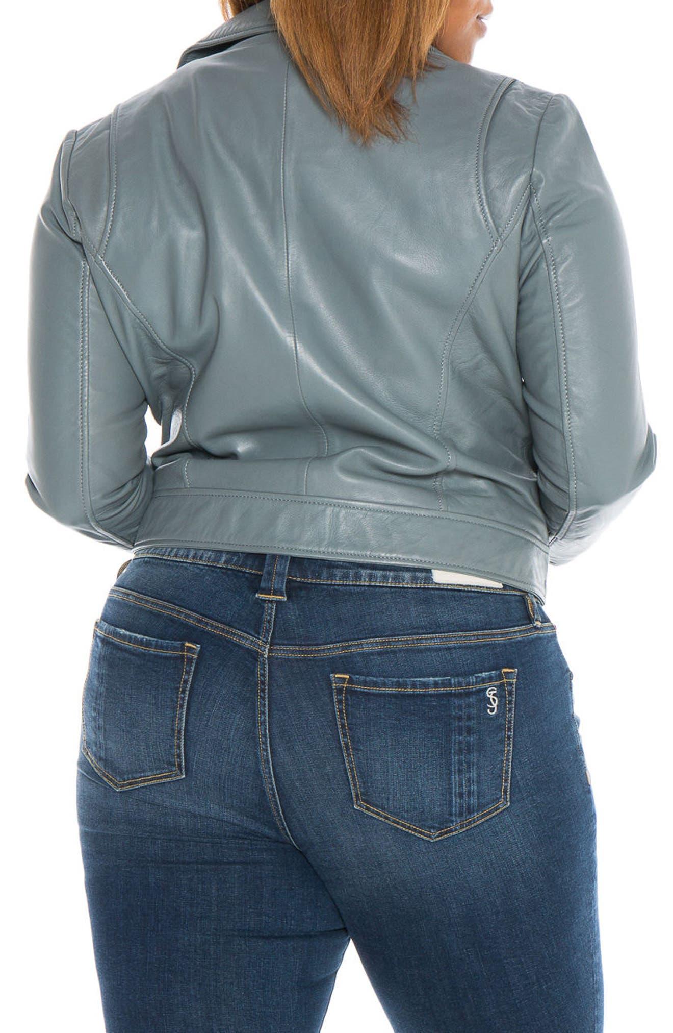 Alternate Image 3  - SLINK Jeans Crop Leather Moto Jacket (Plus)