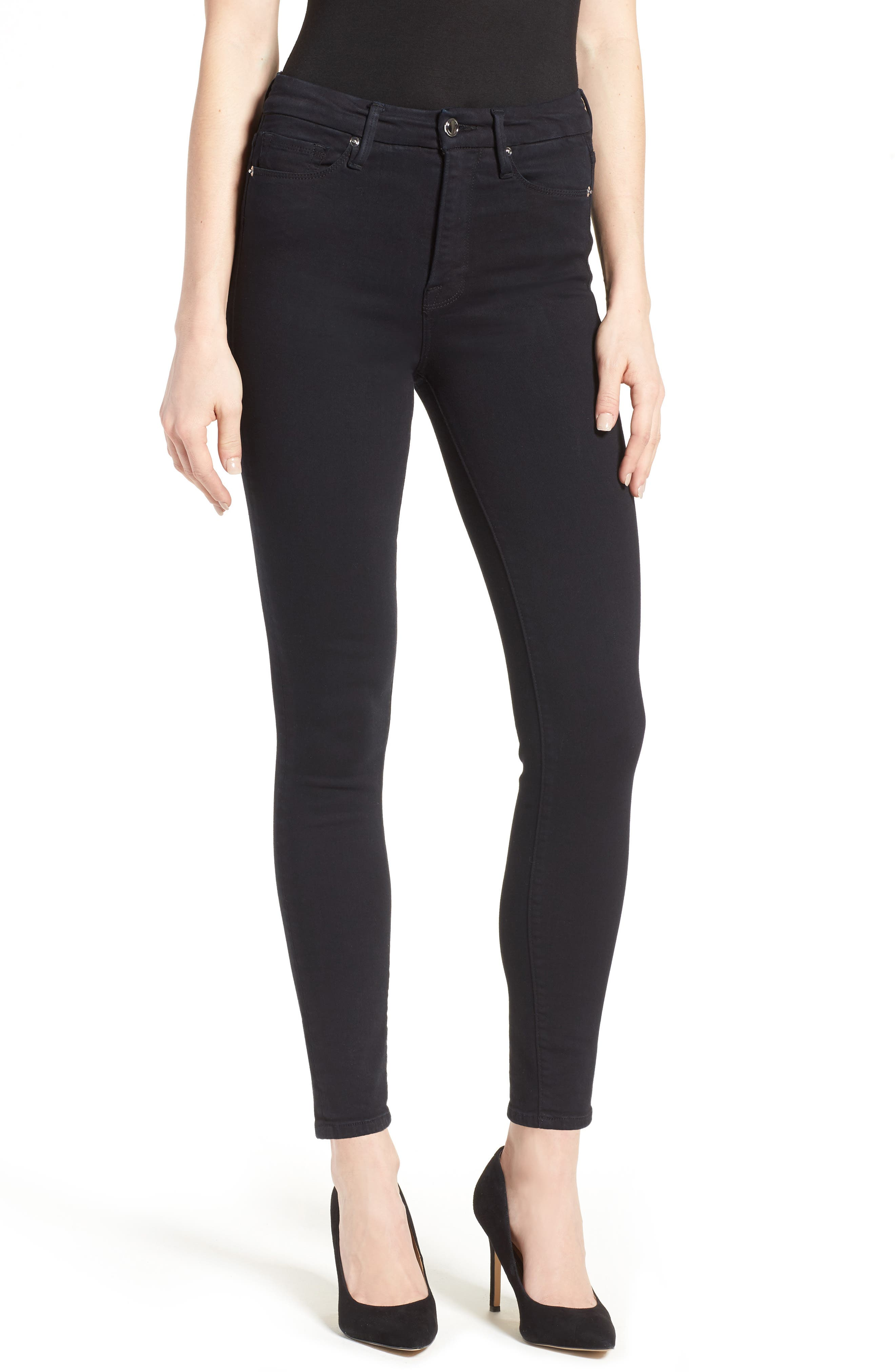 Alternate Image 1 Selected - Good American Good Waist High Rise Skinny Jeans (Black 004)