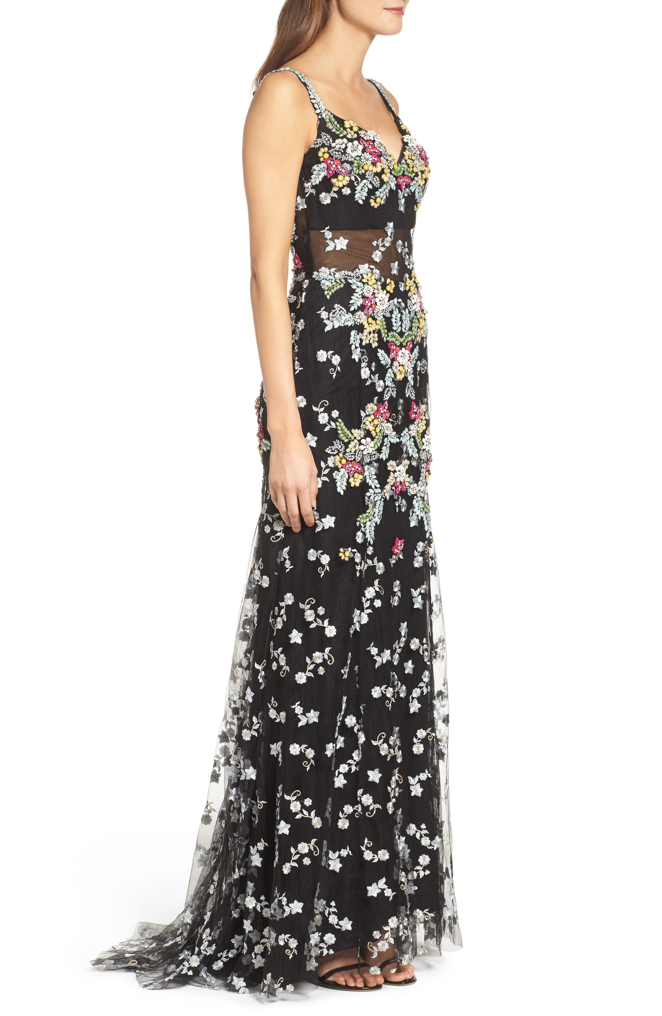 Embroidered Mesh Gown,                             Alternate thumbnail 3, color,                             Black/ Multi