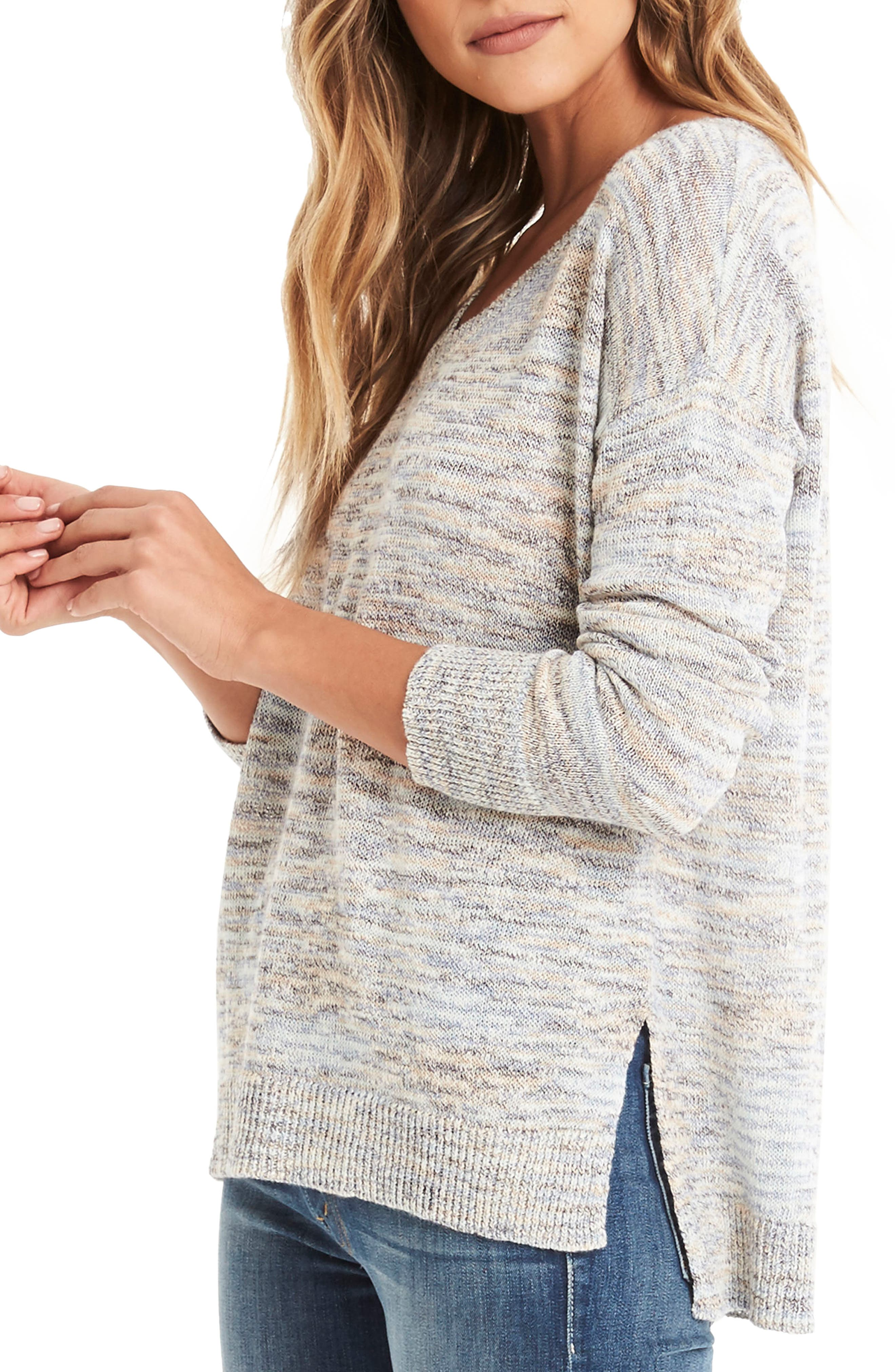 V-Neck Sweater,                             Alternate thumbnail 3, color,                             Blue Marl