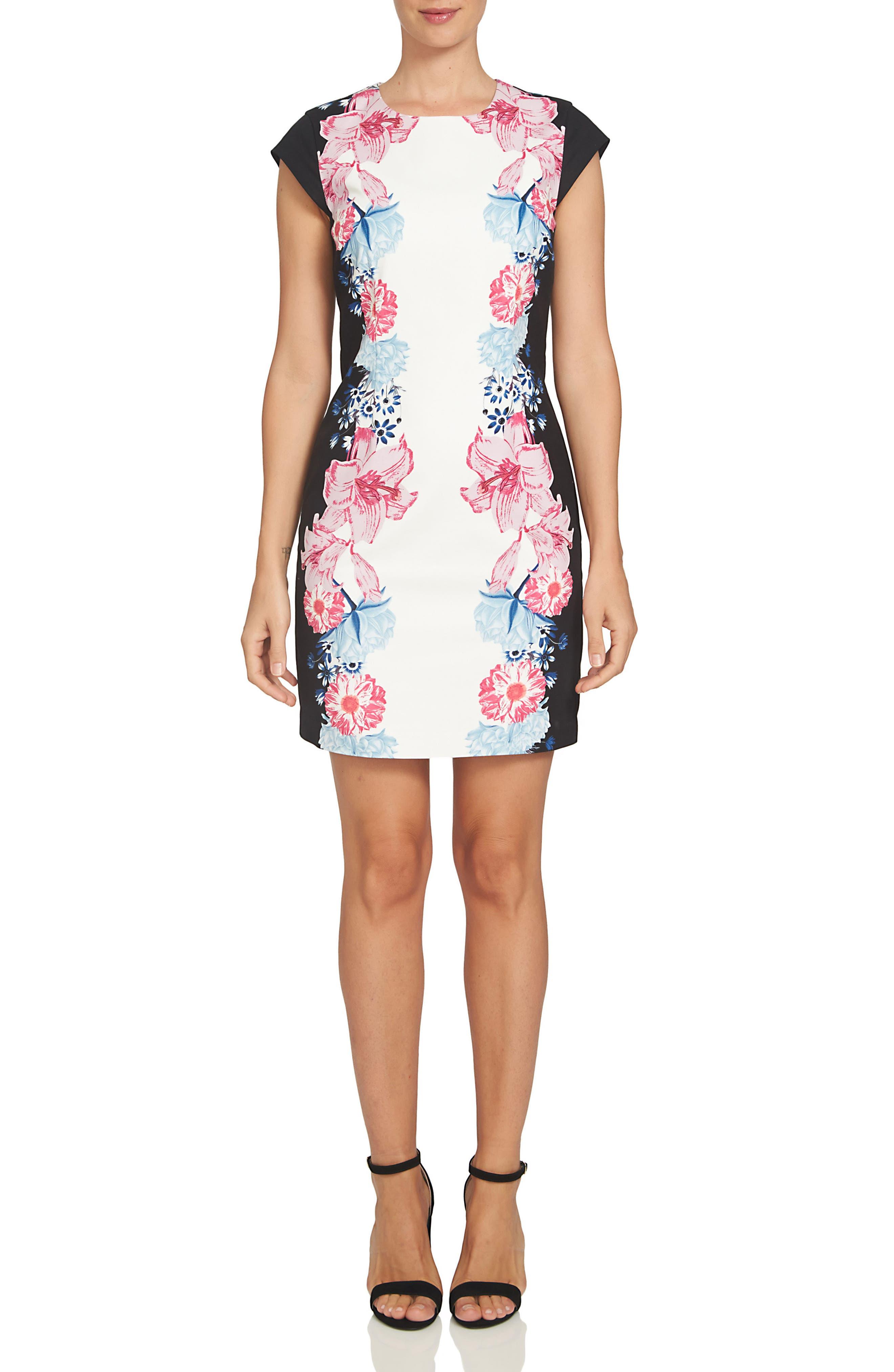 Alternate Image 1 Selected - CeCe Colorblock Floral Sheath Dress