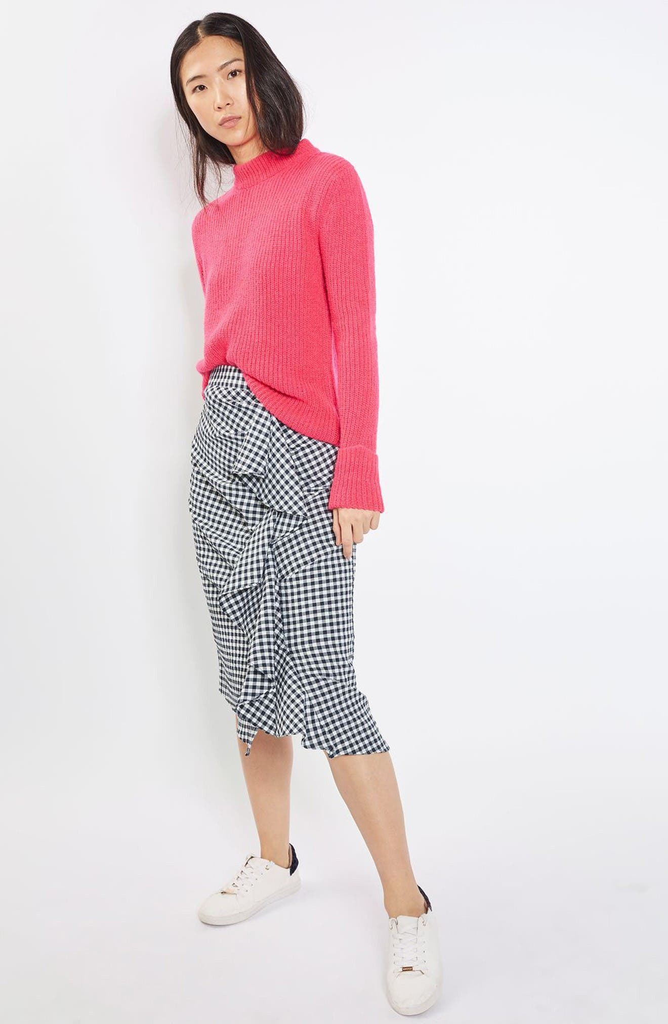 Alternate Image 2  - Topshop Ruffle Gingham Midi Skirt