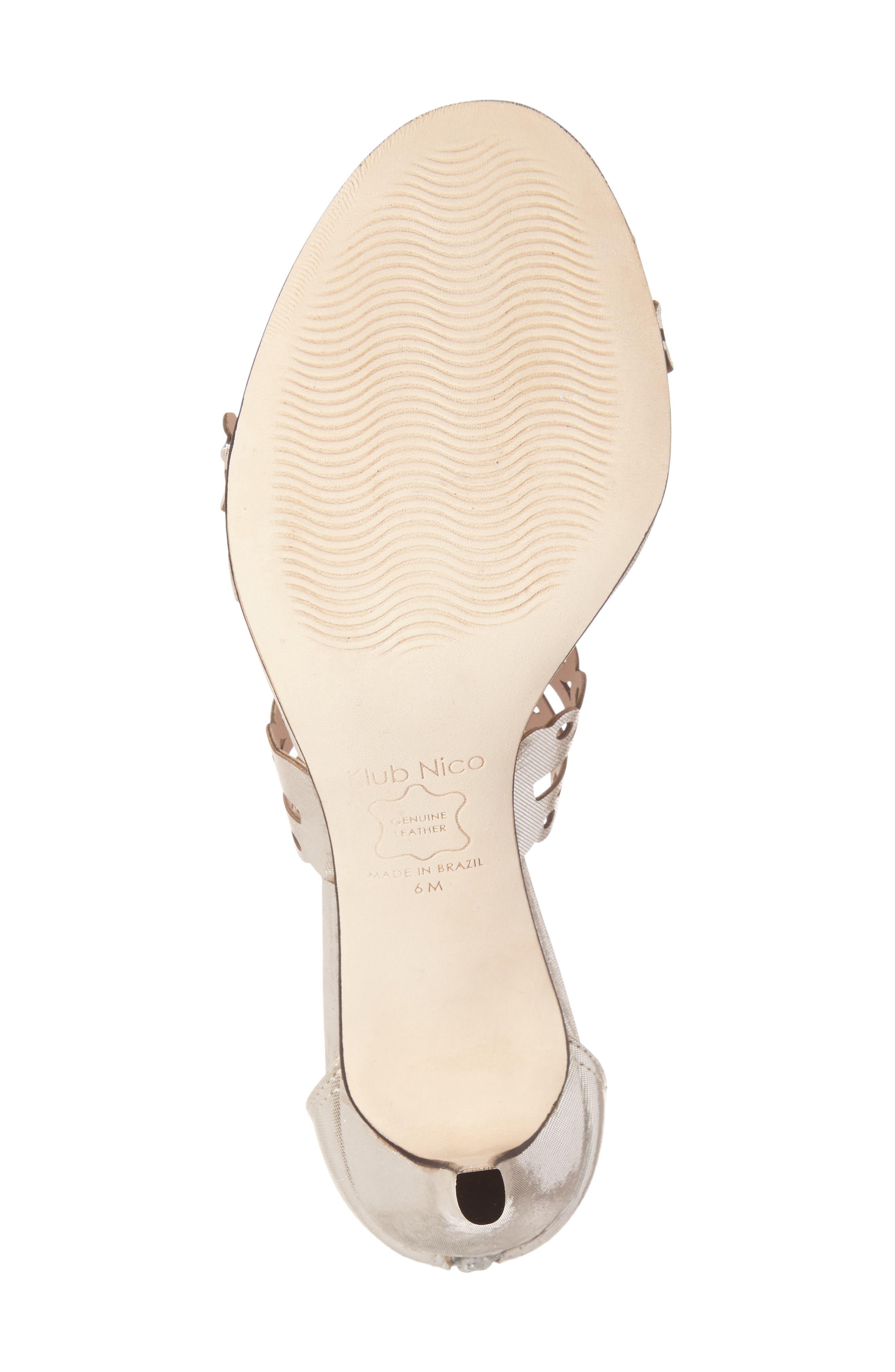 'Antonia' Laser Cut T-Strap Sandal,                             Alternate thumbnail 3, color,                             Silver Leather