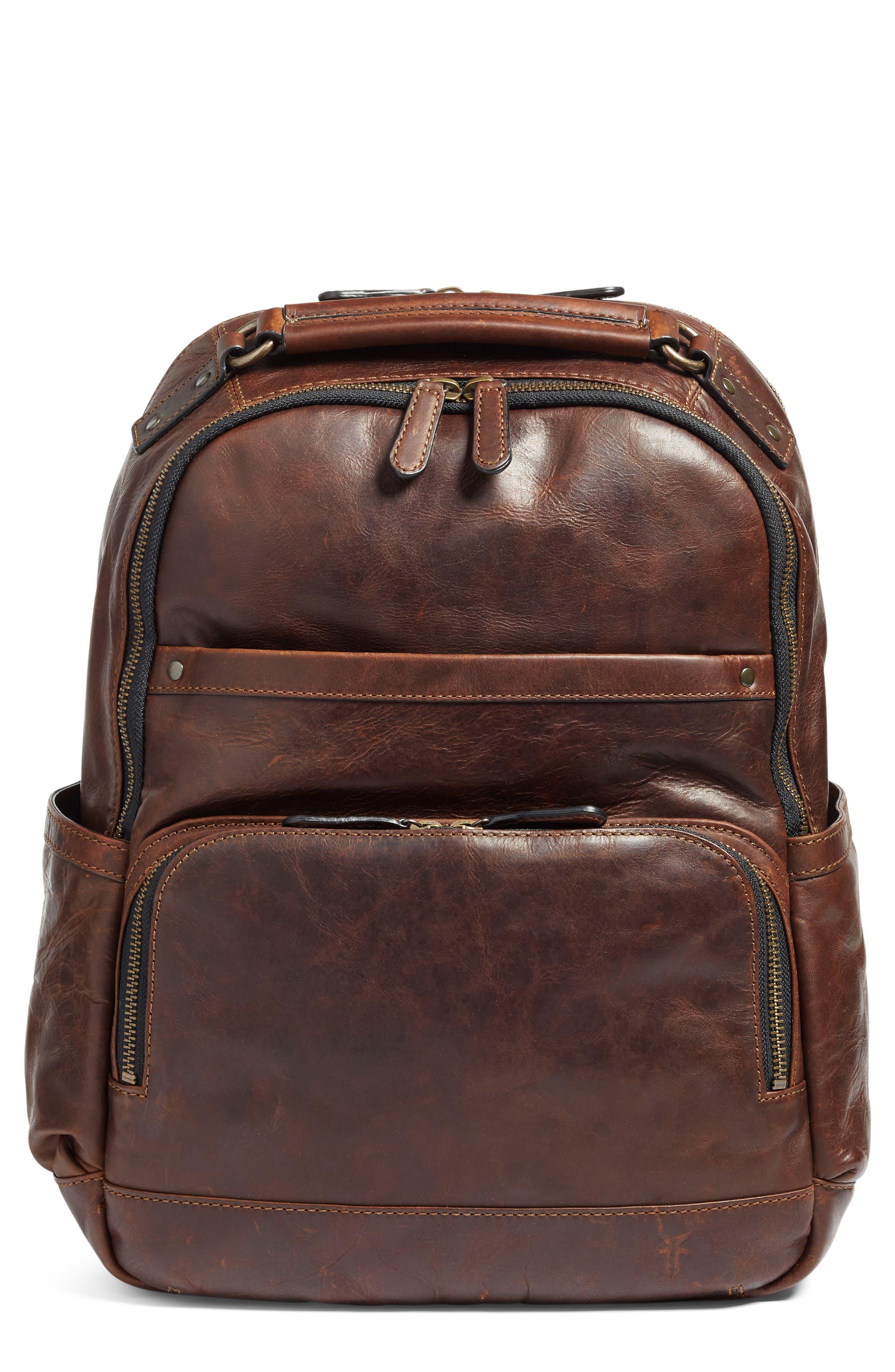 'Logan' Leather Backpack,                         Main,                         color, Dark Brown