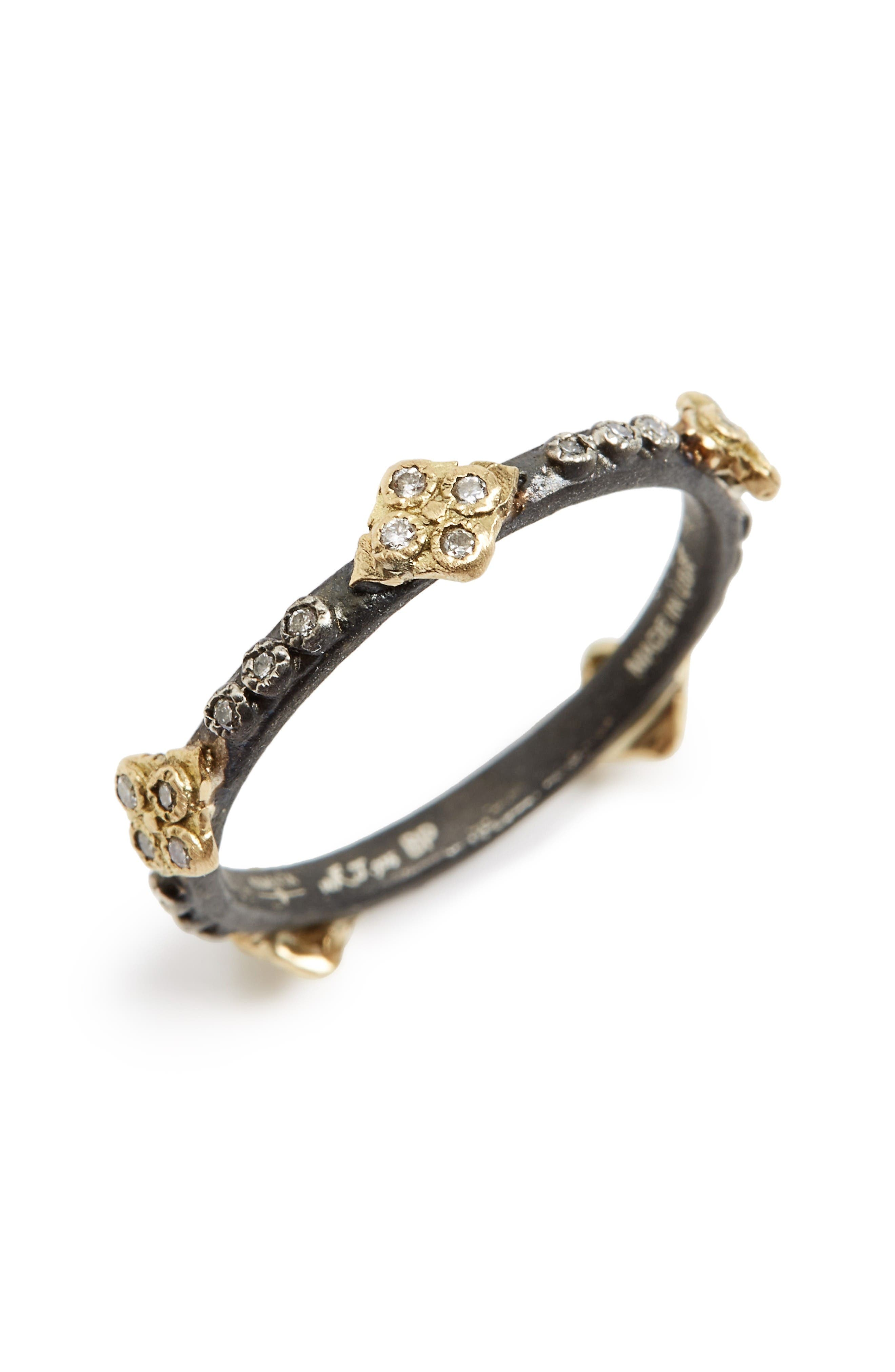 Old World Crivelli Diamond Stack Ring,                         Main,                         color, Gold