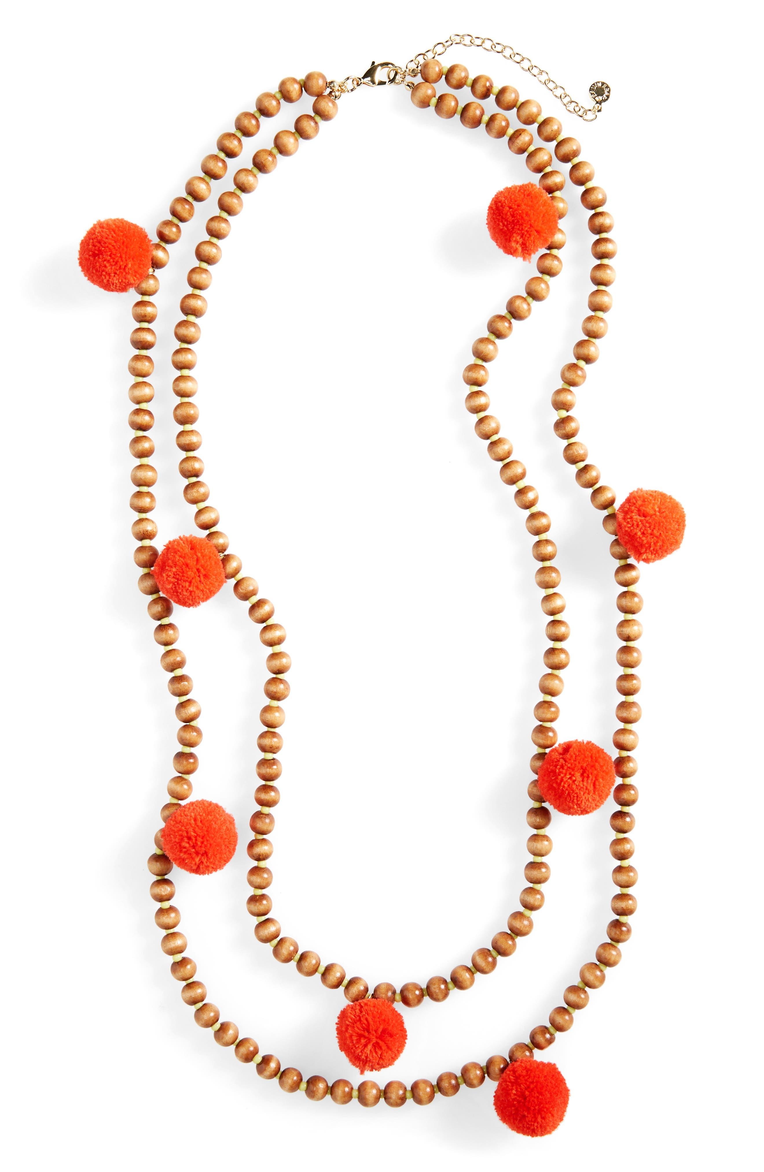 Main Image - BaubleBar Grenada Double Strand Pompom Necklace
