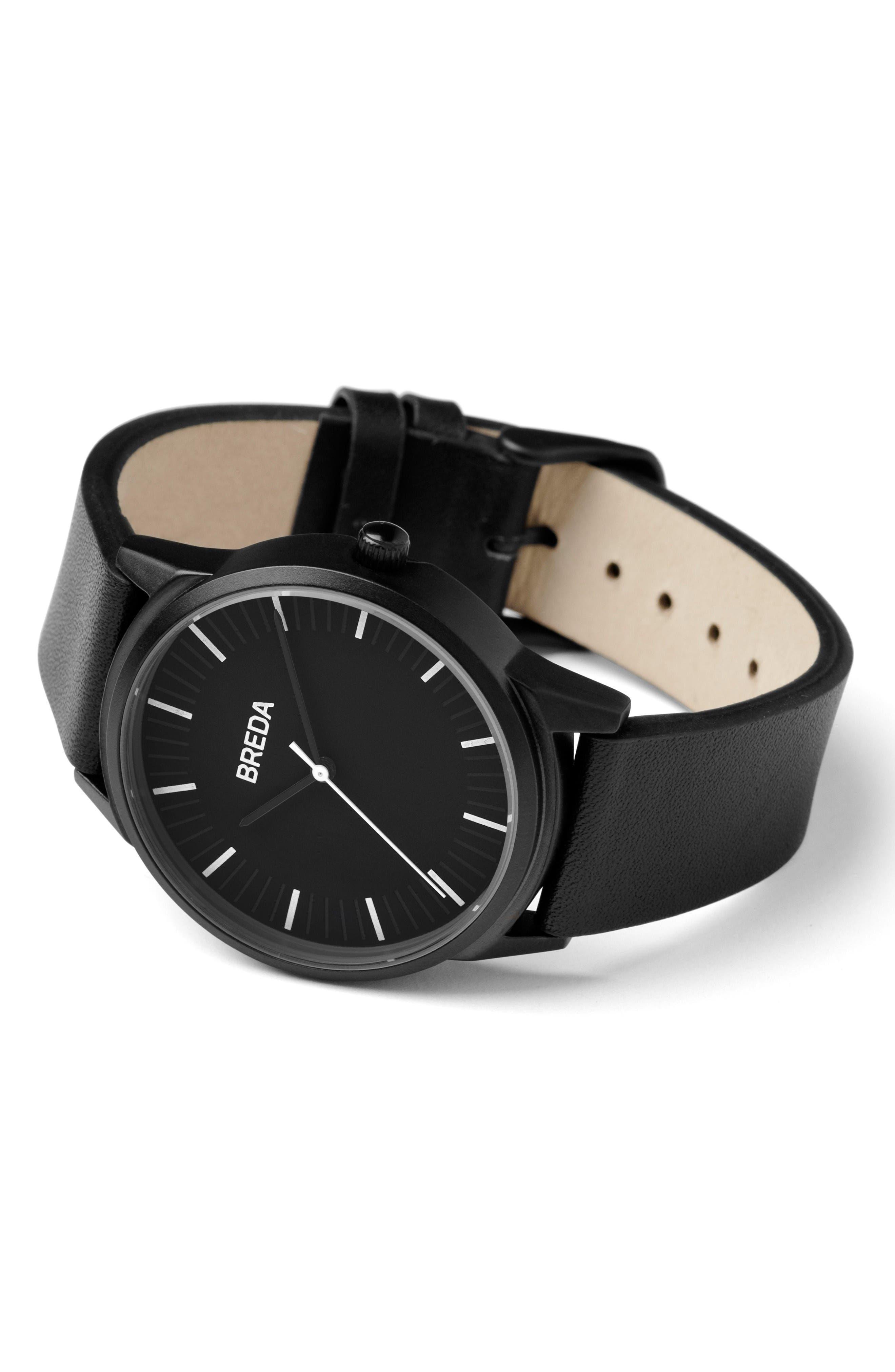 Bresson Leather Strap Watch, 42mm,                             Alternate thumbnail 2, color,                             Black/ Black
