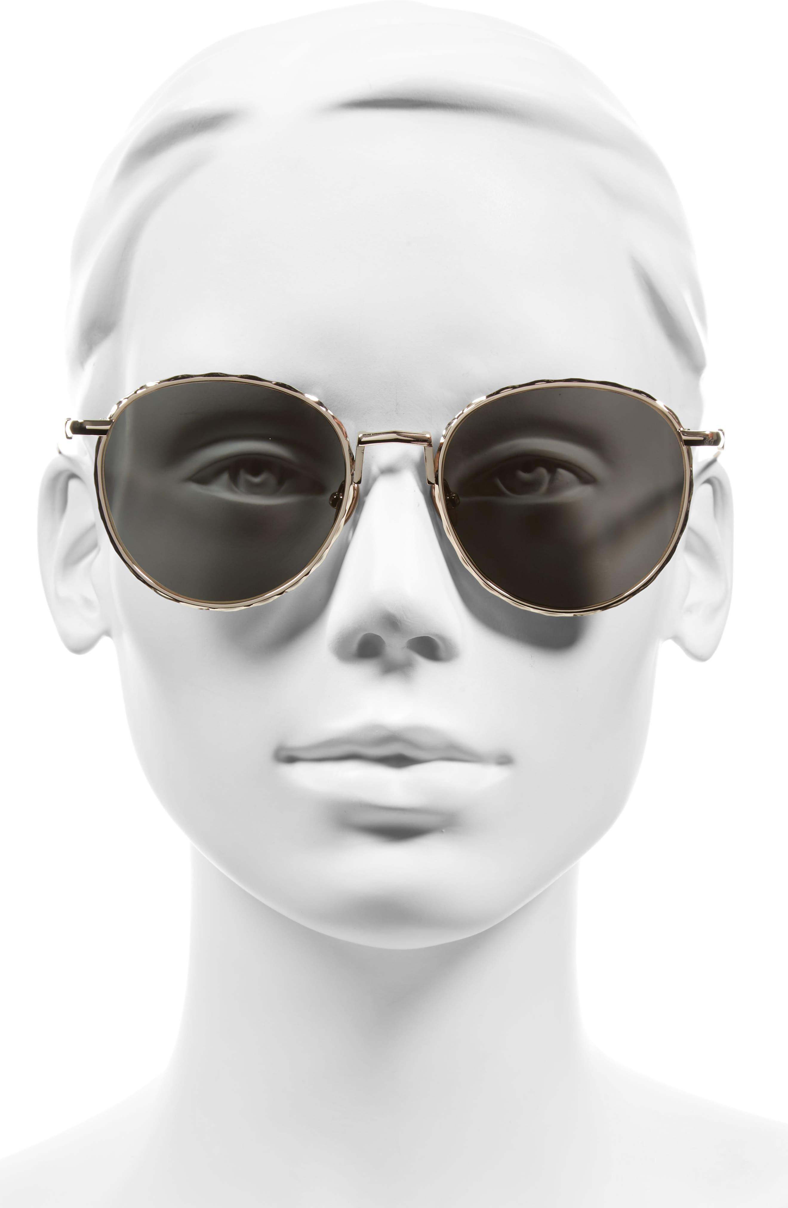 Corpus 53mm Round Sunglasses,                             Alternate thumbnail 2, color,                             Rose Gold/ Rose Gold Mirror