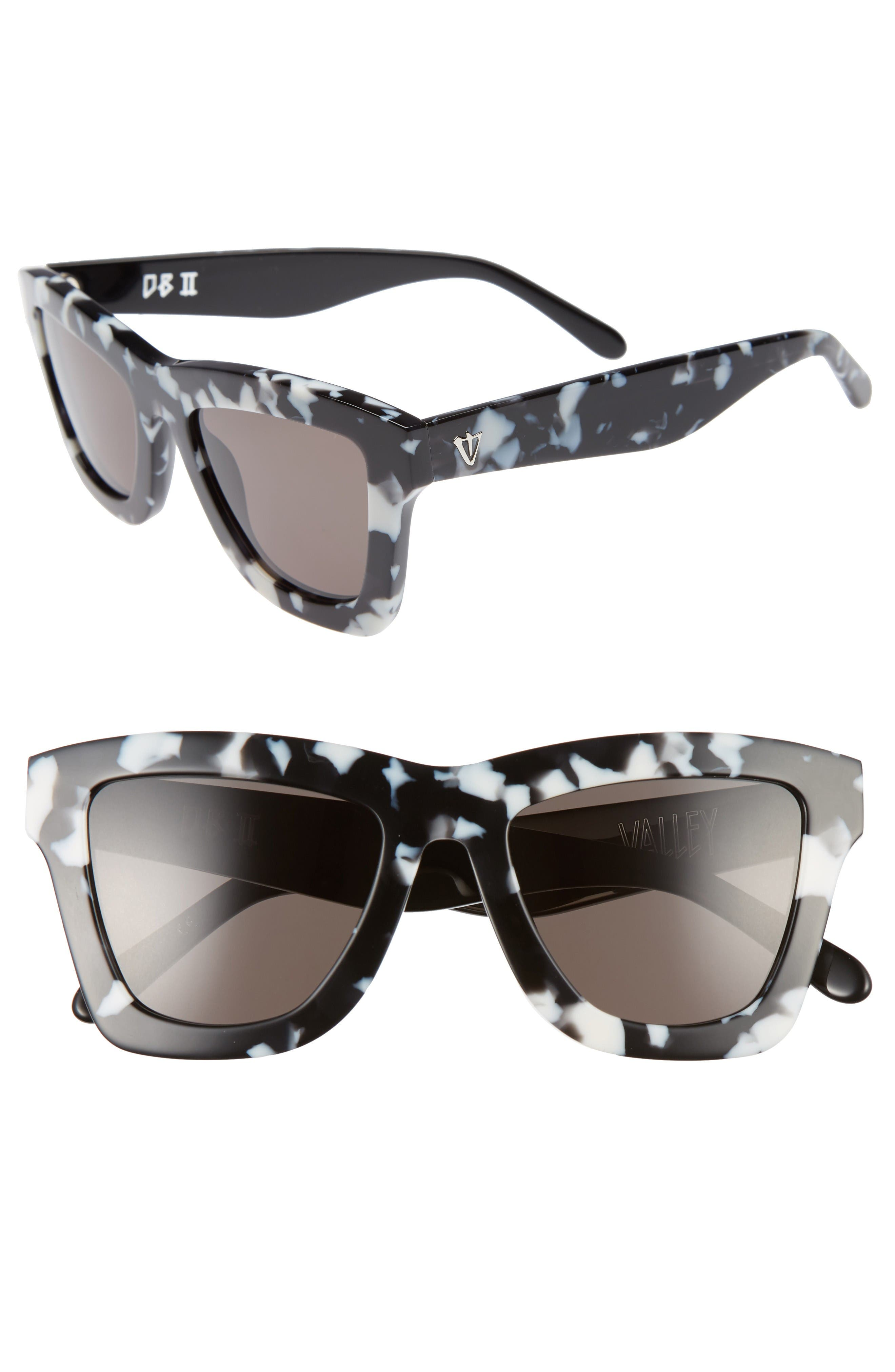 DB II 50mm Retro Sunglasses,                         Main,                         color, Black Marble/ Black