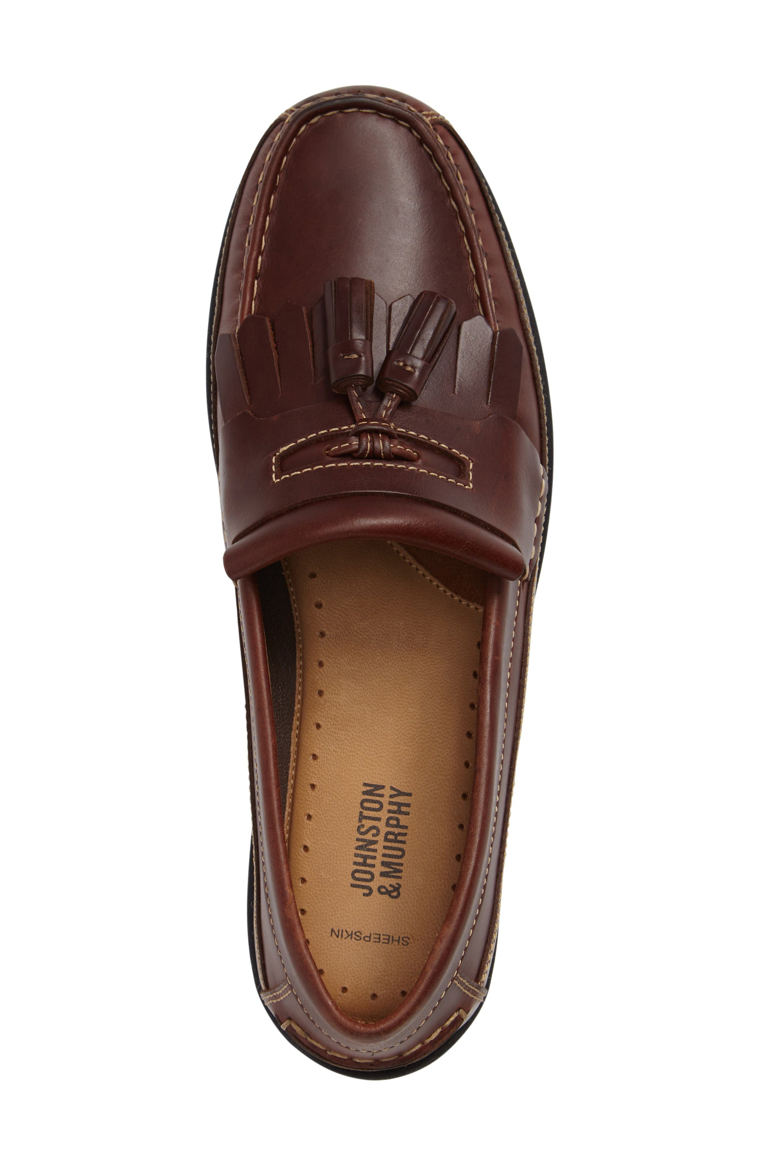 Fowler Kiltie Tassel Loafer,                             Alternate thumbnail 3, color,                             Mahogany Leather