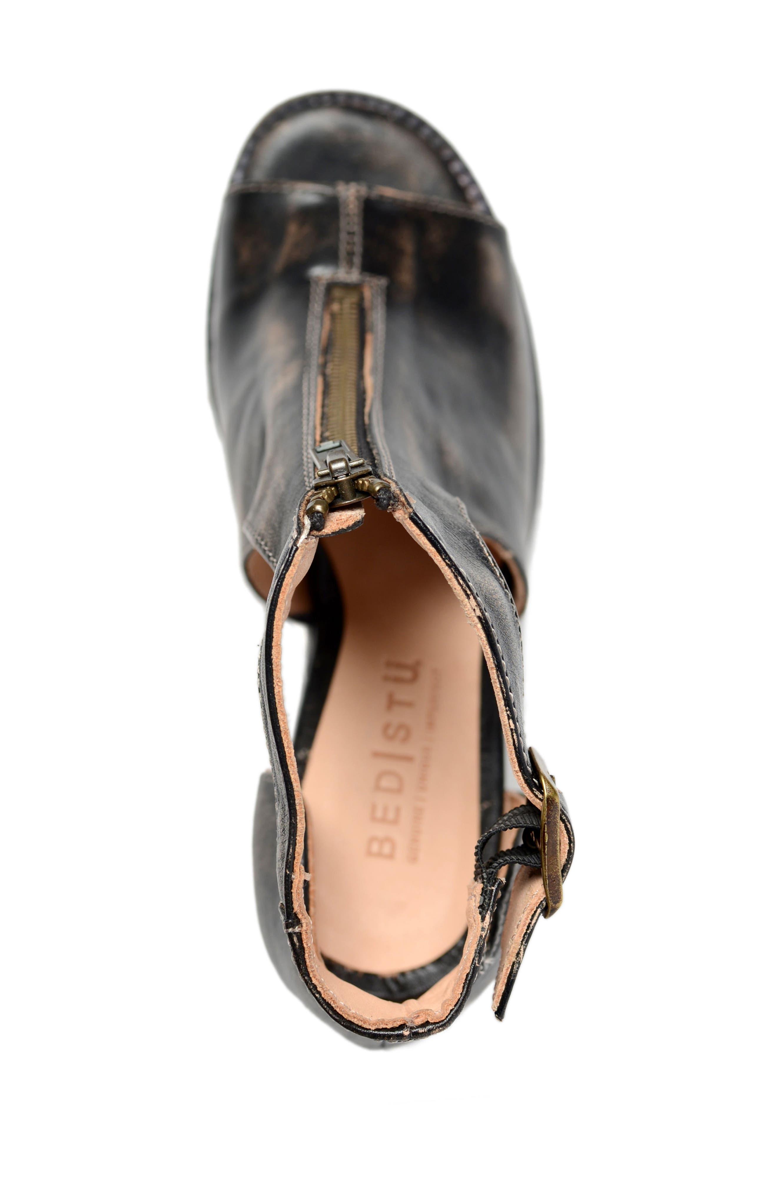 Olena Open Toe Bootie,                             Alternate thumbnail 3, color,                             Black Leather