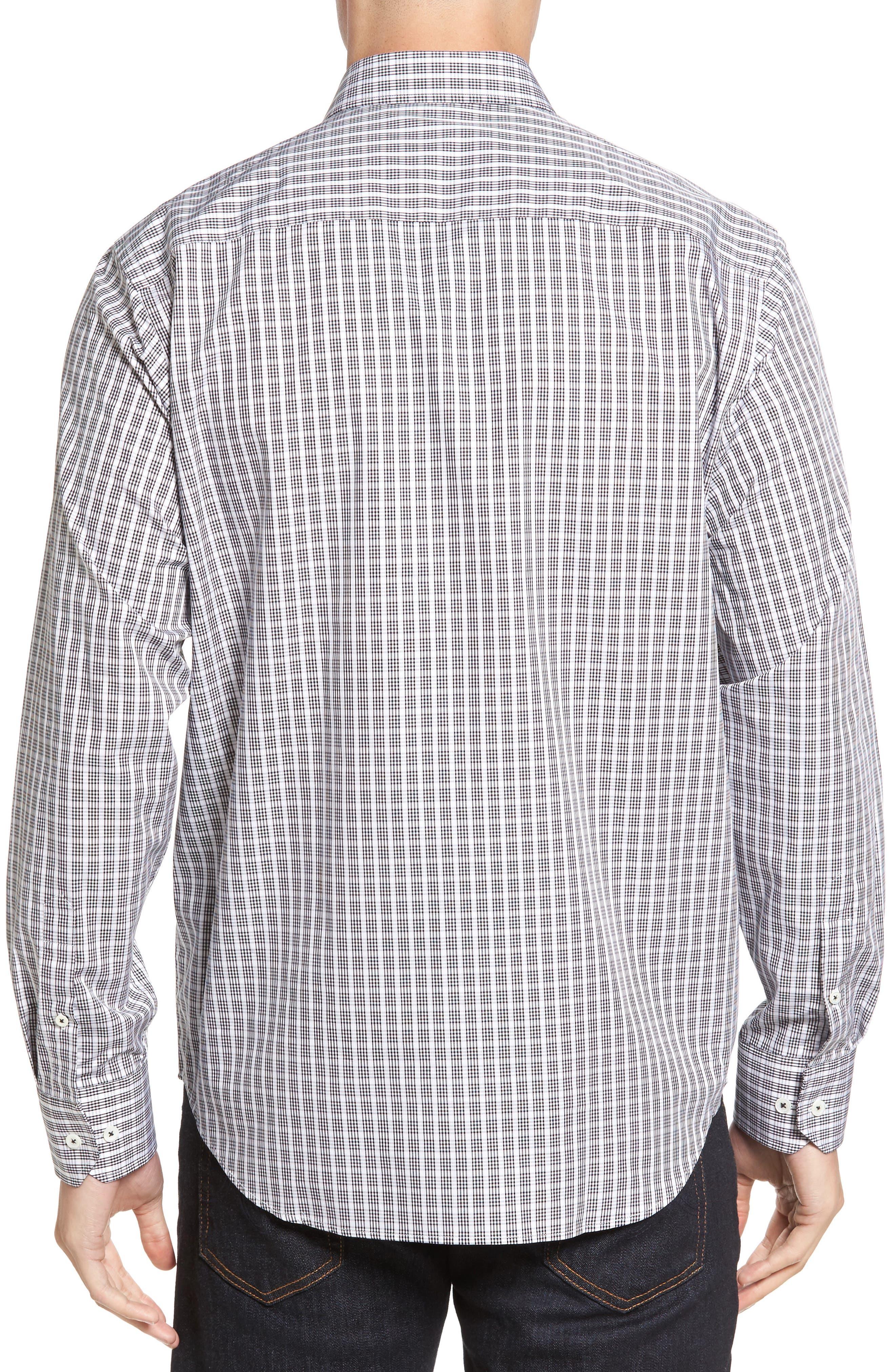 Classic Fit Check Sport Shirt,                             Alternate thumbnail 2, color,                             Black