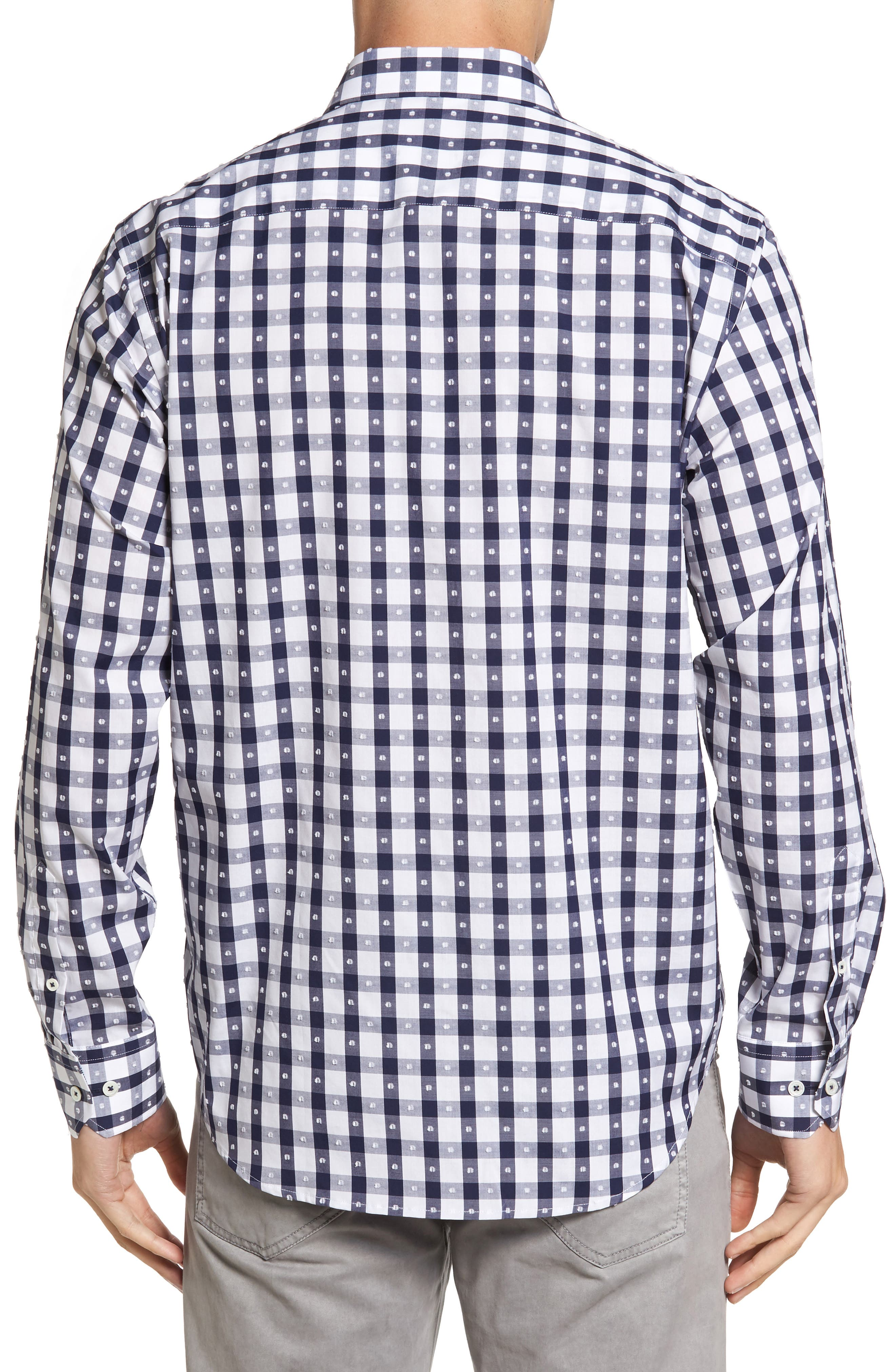 Classic Fit Dot & Gingham Check Sport Shirt,                             Alternate thumbnail 2, color,                             Navy